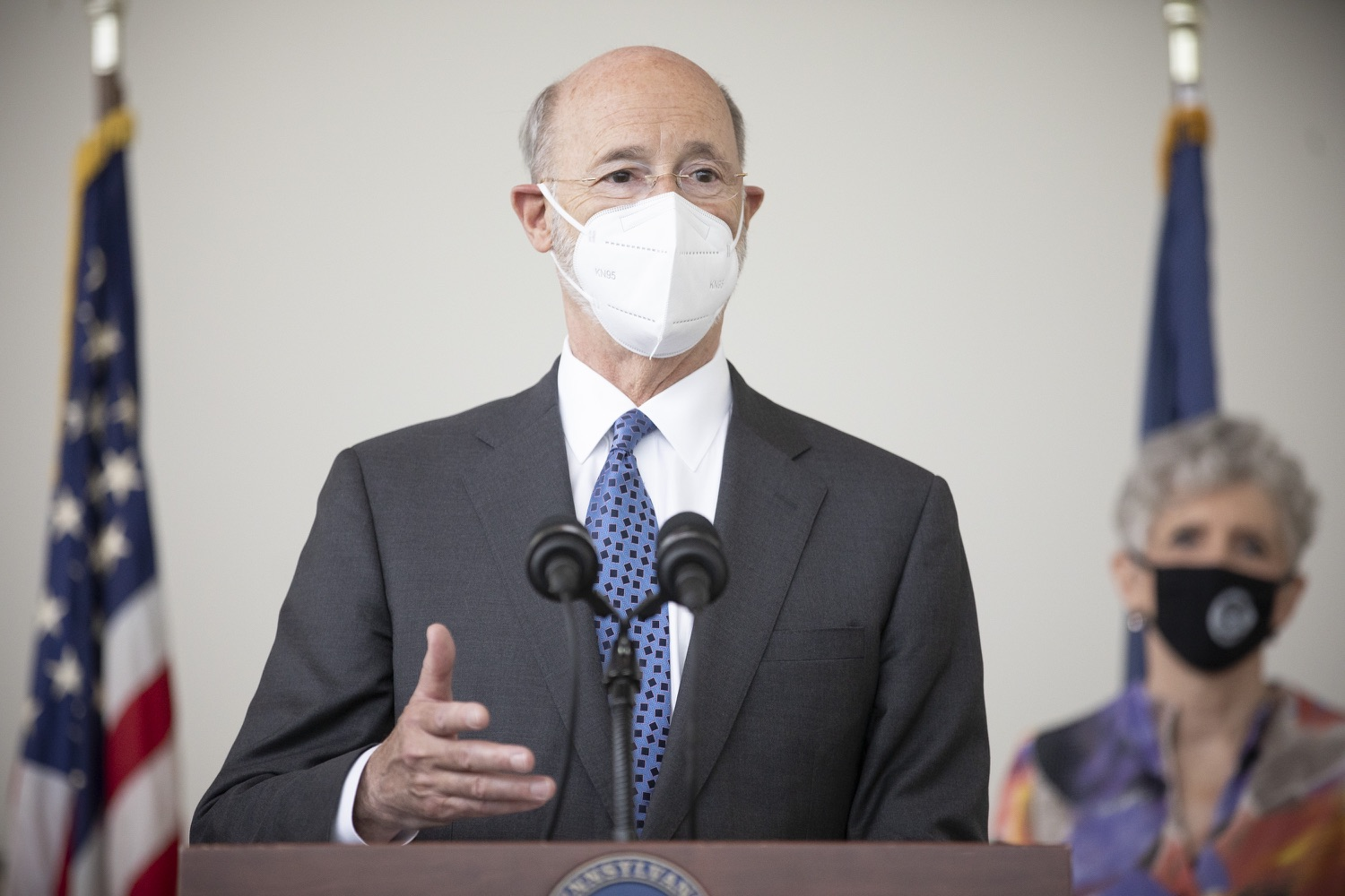 """<a href=""""https://filesource.wostreaming.net/commonwealthofpa/photo/18716_gov_erieVaccination_dz_016.jpg"""" target=""""_blank"""">⇣Download Photo<br></a>Pennsylvania Governor Tom Wolf speaking with the press.  Governor Tom Wolf toured a COVID-19 vaccine clinic at the Bayfront Convention Center in Erie that is operated by the Erie County Department of Health and the Lake Erie College of Osteopathic Medicine (LECOM) Institute for Successful Aging. The governor discussed the states vaccination effort and reminded all Pennsylvanians the vaccine is available, free and safe.  Erie, PA  April 28, 2021"""