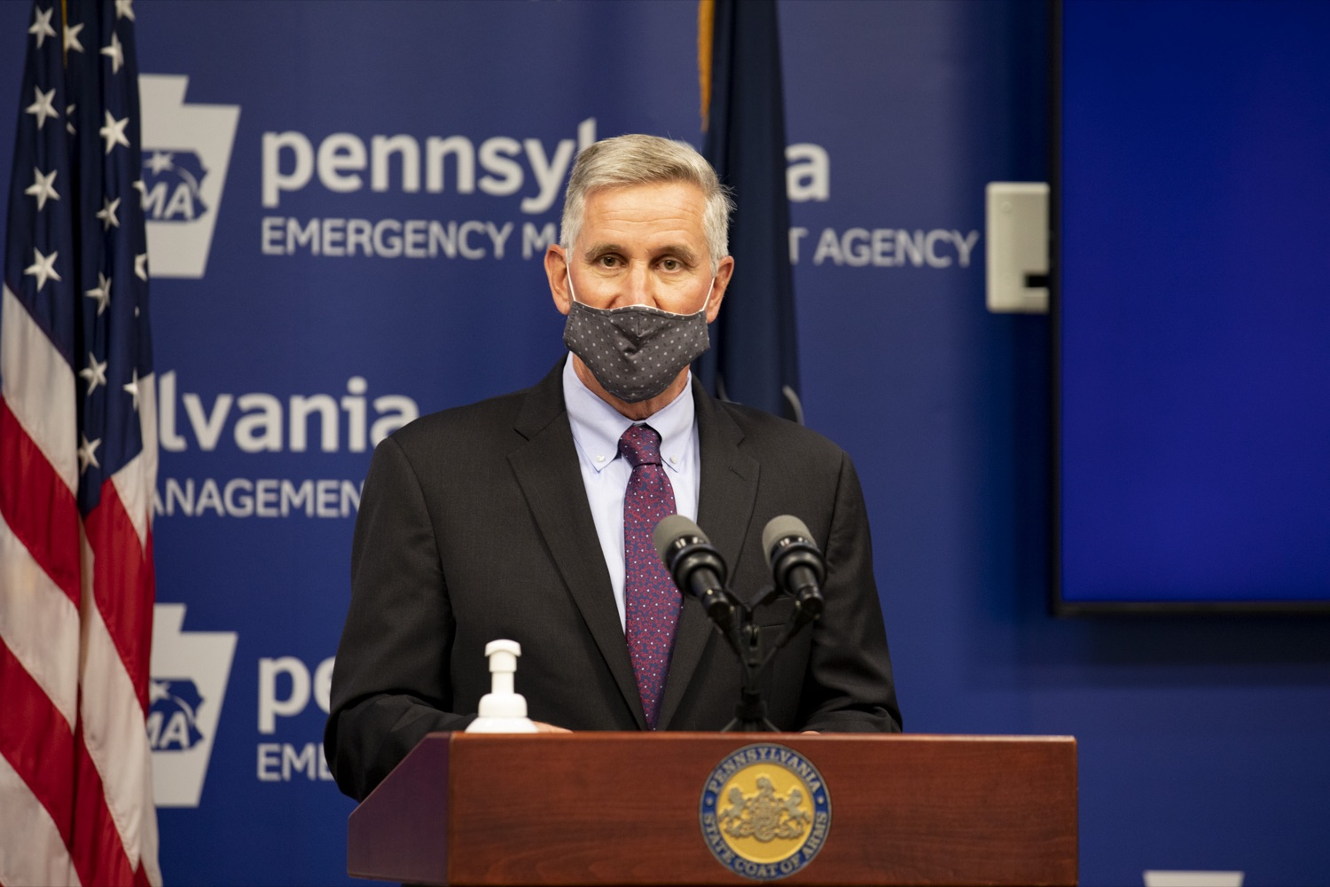 "<a href=""https://filesource.wostreaming.net/commonwealthofpa/photo/18722_agric_animalHealth_03.jpg"" target=""_blank"">⇣ Download Photo<br></a>Agriculture Secretary Russell Redding says Pennsylvania's animal agriculture industry relies on quick, coordinated emergency declaration and response, urging voters to consider this at the polls. Pennsylvania Emergency Management Agency in Harrisburg on May 4, 2021."