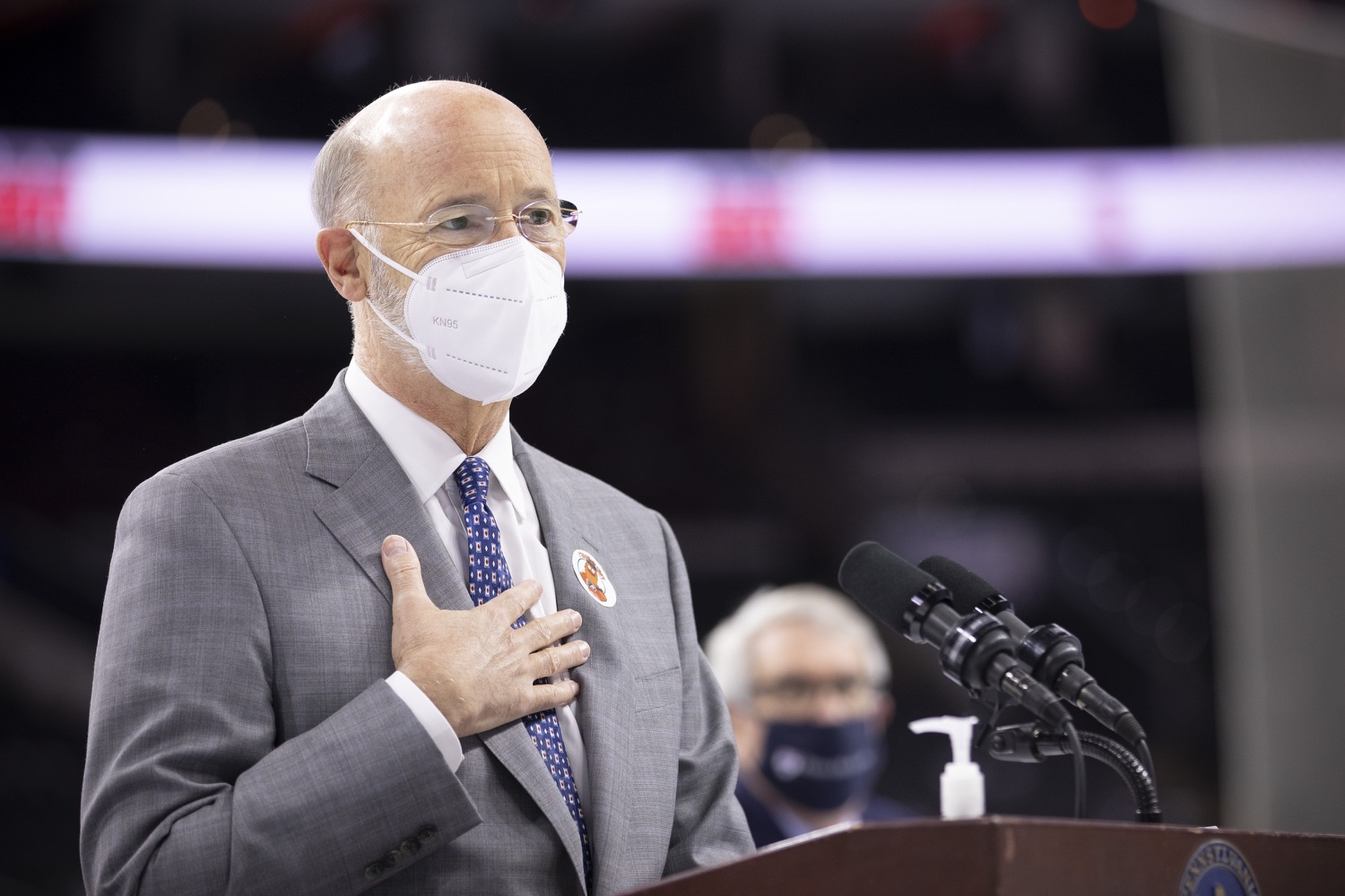 """<a href=""""https://filesource.wostreaming.net/commonwealthofpa/photo/18727_gov_vaccines_dz_004.JPG"""" target=""""_blank"""">⇣Download Photo<br></a>Pennsylvania Governor Tom Wolf speaking with the press.   Governor Tom Wolf today visited the Philadelphia Flyers organization at the Wells Fargo Center in Philadelphia to discuss COVID-19 vaccine efforts in Pennsylvania. The Flyers recently launched a comprehensive COVID-19 vaccine campaign, Take Your Shot, encouraging Pennsylvanians to get vaccinated.  Philadelphia, PA  MAY 3, 2021"""