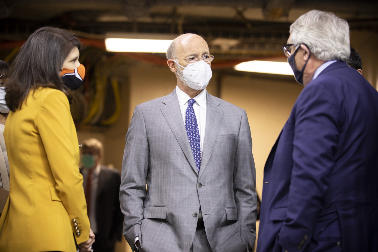 """<a href=""""https://filesource.wostreaming.net/commonwealthofpa/photo/18727_gov_vaccines_dz_011.jpg"""" target=""""_blank"""">⇣Download Photo<br></a>Pennsylvania Governor Tom Wolf meeting with Valerie Camillo, President of Business Operations, Philadelphia Flyers & Wells Fargo before the press conference.   Governor Tom Wolf today visited the Philadelphia Flyers organization at the Wells Fargo Center in Philadelphia to discuss COVID-19 vaccine efforts in Pennsylvania. The Flyers recently launched a comprehensive COVID-19 vaccine campaign, Take Your Shot, encouraging Pennsylvanians to get vaccinated.  Philadelphia, PA  MAY 3, 2021"""