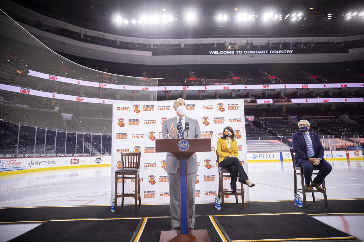 "<a href=""https://filesource.wostreaming.net/commonwealthofpa/photo/18727_gov_vaccines_dz_016.jpg"" target=""_blank"">⇣ Download Photo<br></a>Pennsylvania Governor Tom Wolf speaking with the press.   Governor Tom Wolf today visited the Philadelphia Flyers organization at the Wells Fargo Center in Philadelphia to discuss COVID-19 vaccine efforts in Pennsylvania. The Flyers recently launched a comprehensive COVID-19 vaccine campaign, Take Your Shot, encouraging Pennsylvanians to get vaccinated.  Philadelphia, PA  MAY 3, 2021"