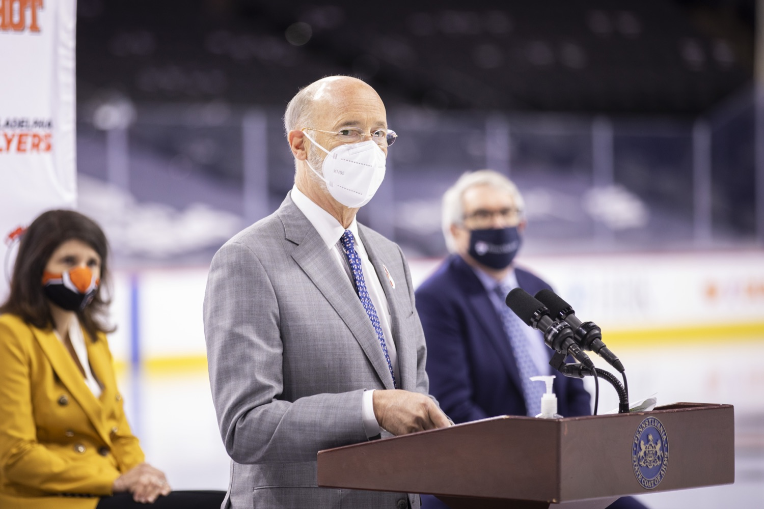 """<a href=""""https://filesource.wostreaming.net/commonwealthofpa/photo/18727_gov_vaccines_dz_018.jpg"""" target=""""_blank"""">⇣Download Photo<br></a>Pennsylvania Governor Tom Wolf speaking with the press.   Governor Tom Wolf today visited the Philadelphia Flyers organization at the Wells Fargo Center in Philadelphia to discuss COVID-19 vaccine efforts in Pennsylvania. The Flyers recently launched a comprehensive COVID-19 vaccine campaign, Take Your Shot, encouraging Pennsylvanians to get vaccinated.  Philadelphia, PA  MAY 3, 2021"""