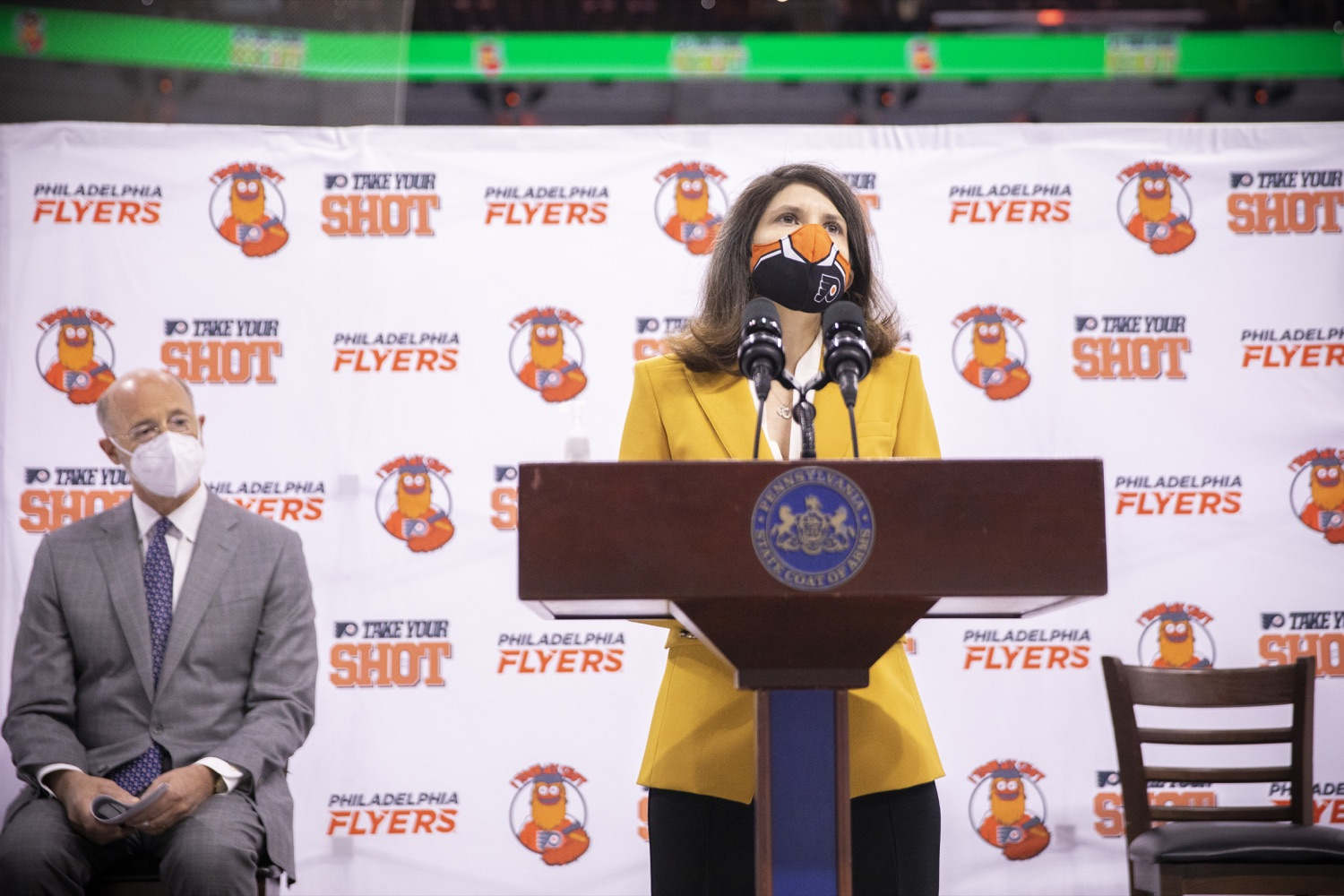 """<a href=""""https://filesource.wostreaming.net/commonwealthofpa/photo/18727_gov_vaccines_dz_019.jpg"""" target=""""_blank"""">⇣Download Photo<br></a>Valerie Camillo, President of Business Operations, Philadelphia Flyers & Wells Fargo speaking with the press.   Governor Tom Wolf today visited the Philadelphia Flyers organization at the Wells Fargo Center in Philadelphia to discuss COVID-19 vaccine efforts in Pennsylvania. The Flyers recently launched a comprehensive COVID-19 vaccine campaign, Take Your Shot, encouraging Pennsylvanians to get vaccinated.  Philadelphia, PA  MAY 3, 2021"""