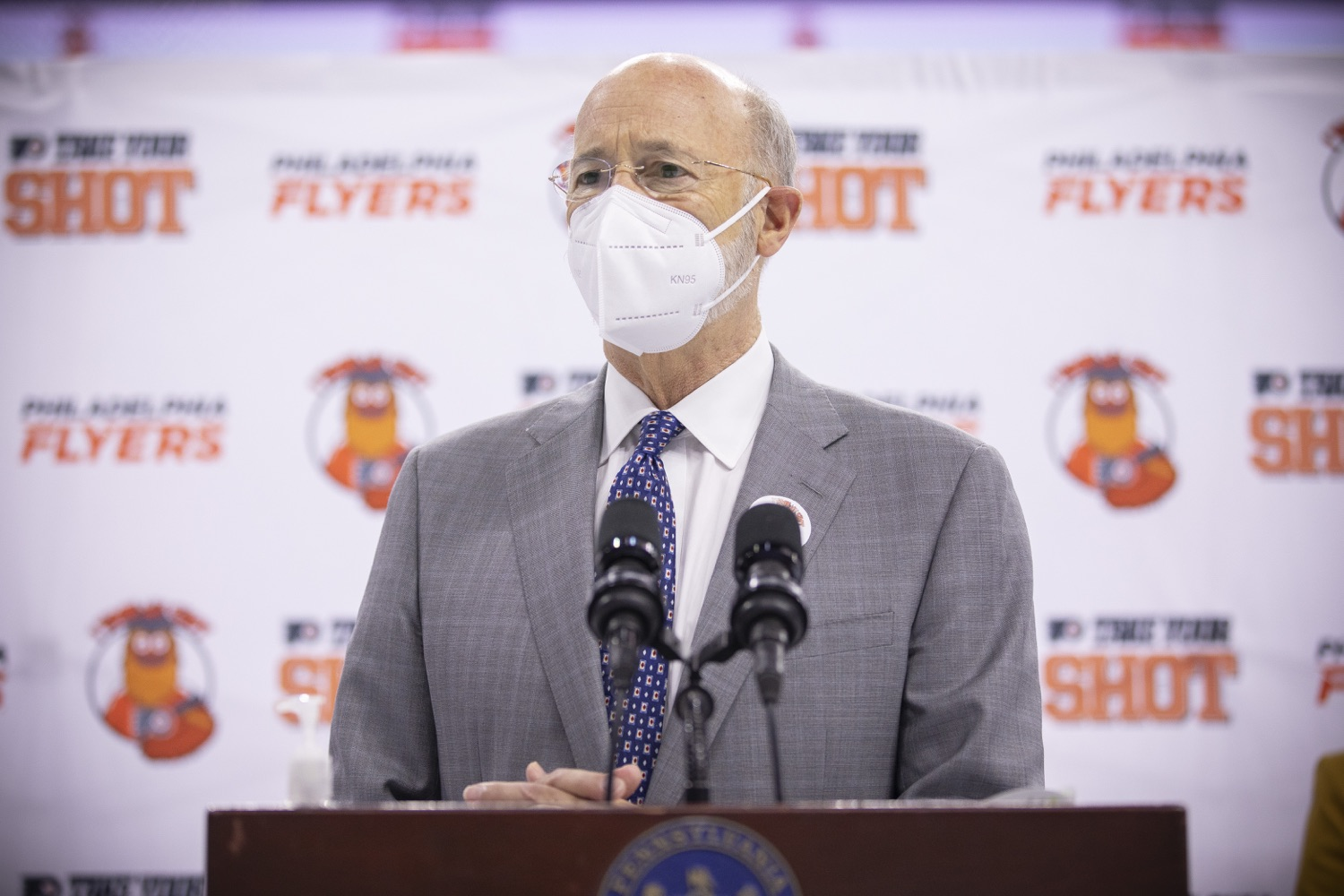 "<a href=""https://filesource.wostreaming.net/commonwealthofpa/photo/18727_gov_vaccines_dz_020.jpg"" target=""_blank"">⇣ Download Photo<br></a>Pennsylvania Governor Tom Wolf speaking with the press.   Governor Tom Wolf today visited the Philadelphia Flyers organization at the Wells Fargo Center in Philadelphia to discuss COVID-19 vaccine efforts in Pennsylvania. The Flyers recently launched a comprehensive COVID-19 vaccine campaign, Take Your Shot, encouraging Pennsylvanians to get vaccinated.  Philadelphia, PA  MAY 3, 2021"