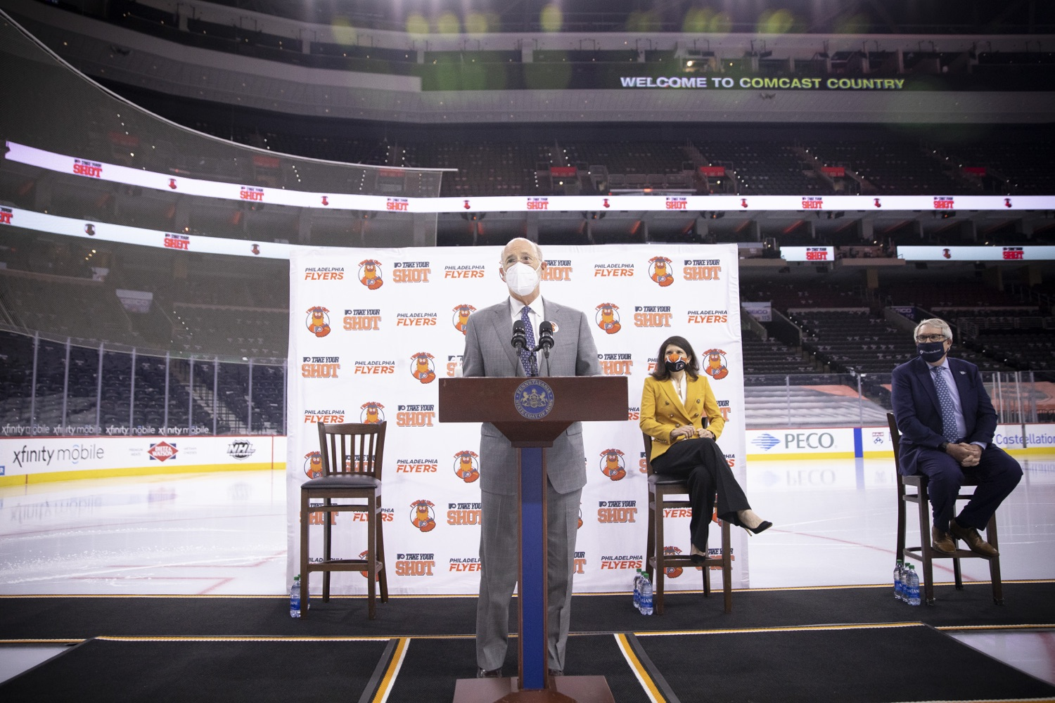 "<a href=""https://filesource.wostreaming.net/commonwealthofpa/photo/18727_gov_vaccines_dz_022.jpg"" target=""_blank"">⇣ Download Photo<br></a>Pennsylvania Governor Tom Wolf speaking with the press.   Governor Tom Wolf today visited the Philadelphia Flyers organization at the Wells Fargo Center in Philadelphia to discuss COVID-19 vaccine efforts in Pennsylvania. The Flyers recently launched a comprehensive COVID-19 vaccine campaign, Take Your Shot, encouraging Pennsylvanians to get vaccinated.  Philadelphia, PA  MAY 3, 2021"