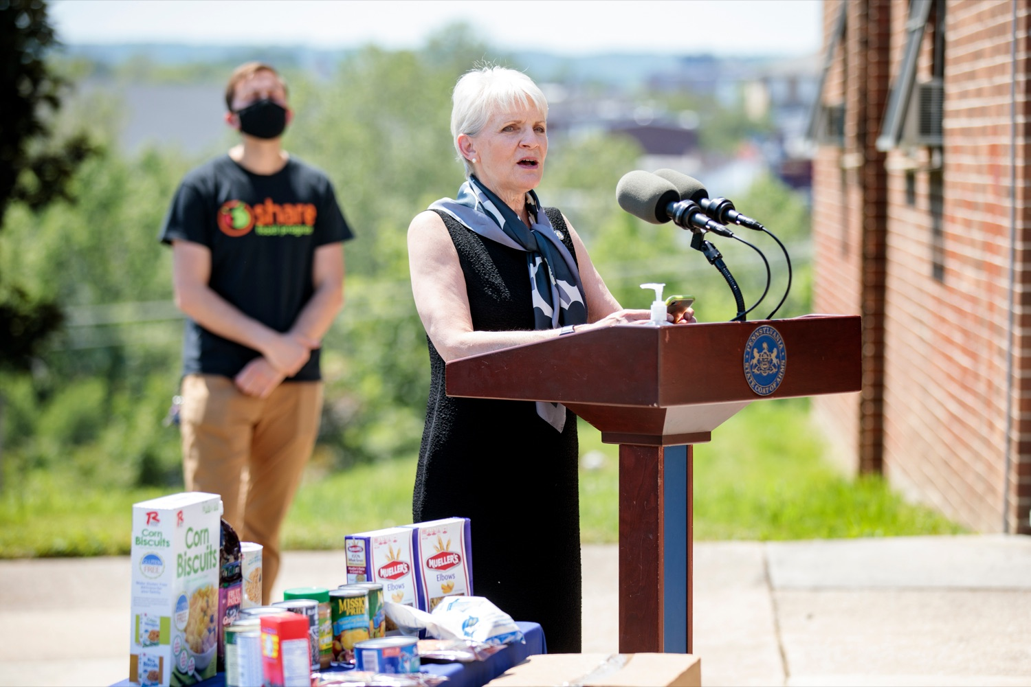 """<a href=""""https://filesource.wostreaming.net/commonwealthofpa/photo/18761_AGRIC_Senior_Food_Box_NK_011.jpg"""" target=""""_blank"""">⇣Download Photo<br></a>State Sen. Carolyn T. Comitta speaks during a press conference, announcing steps to increase access to Pennsylvanias Senior Food Boxes, a supplemental food program available free to lower income seniors, outside Kings Terrace in Phoenixville on Wednesday, May 19, 2021."""