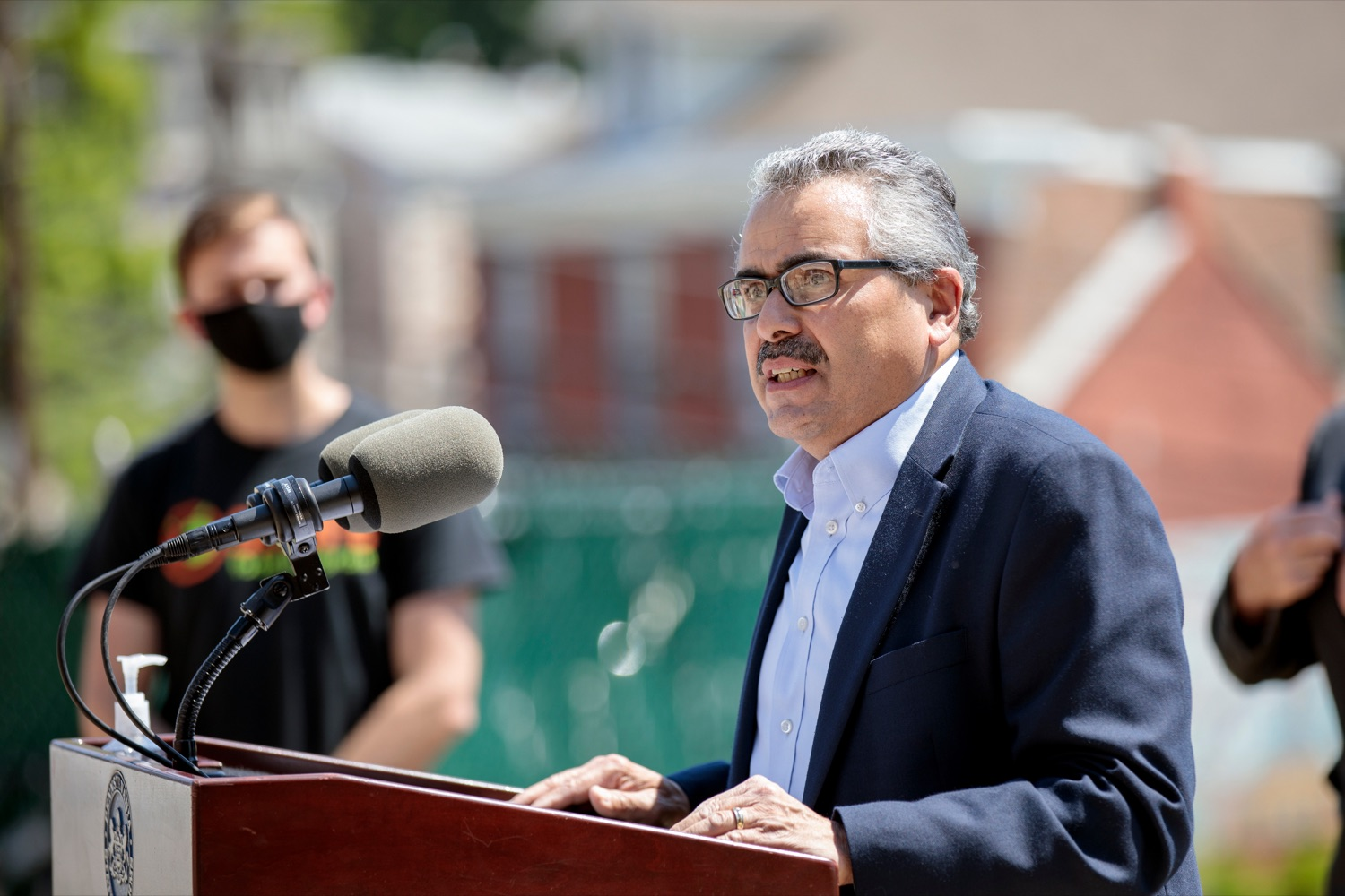 """<a href=""""https://filesource.wostreaming.net/commonwealthofpa/photo/18761_AGRIC_Senior_Food_Box_NK_017.jpg"""" target=""""_blank"""">⇣Download Photo<br></a>PA Dept. of Aging Secretary Robert Torres speaks during a press conference, announcing steps to increase access to Pennsylvanias Senior Food Boxes, a supplemental food program available free to lower income seniors, outside Kings Terrace in Phoenixville on Wednesday, May 19, 2021."""