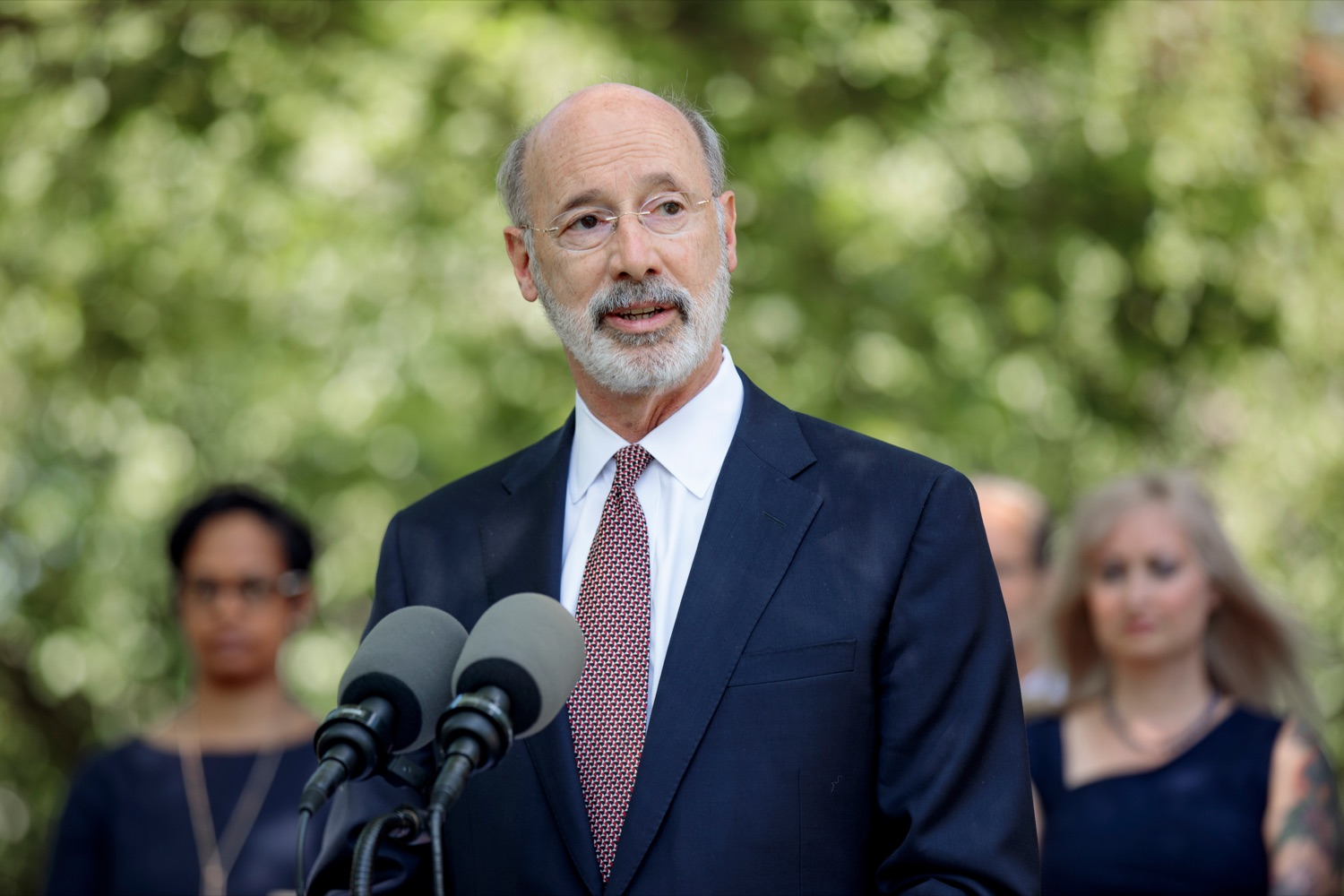 """<a href=""""https://filesource.wostreaming.net/commonwealthofpa/photo/18781_GOV_Choice_NK_003.jpg"""" target=""""_blank"""">⇣Download Photo<br></a>Gov. Tom Wolf speaks during a press conference, which discussed the damaging effects of the general assemblys proposed anti-abortion legislation and reaffirm a commitment to protecting reproductive rights, at Narberth Park on Thursday, May 27, 2021."""