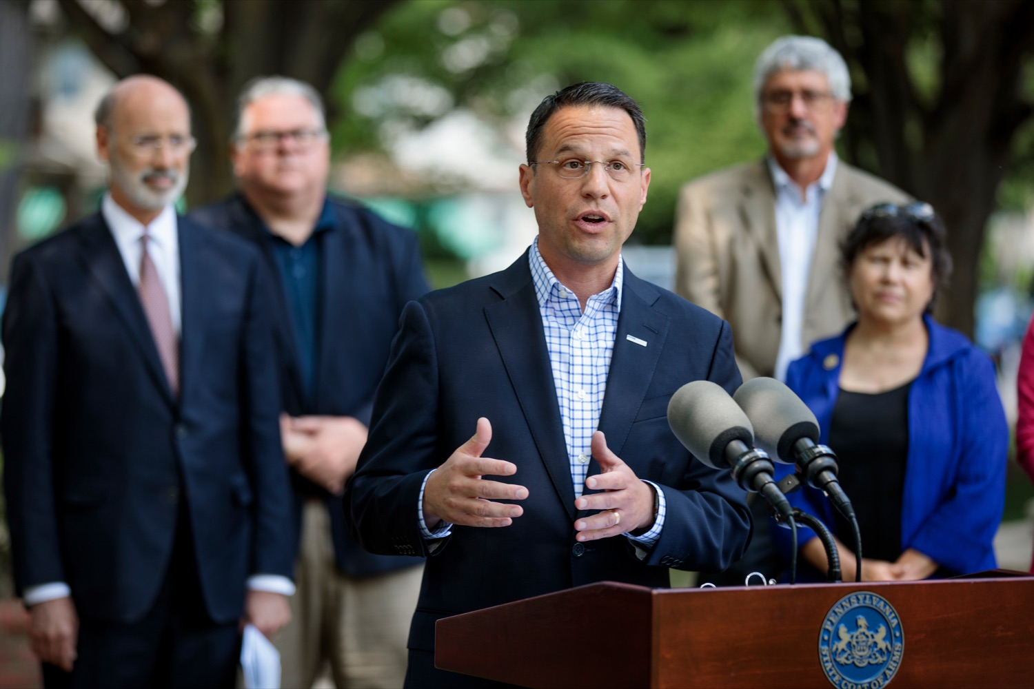 """<a href=""""https://filesource.wostreaming.net/commonwealthofpa/photo/18781_GOV_Choice_NK_005.jpg"""" target=""""_blank"""">⇣Download Photo<br></a>Attorney General Josh Shapiro speaks during a press conference, which discussed the damaging effects of the general assemblys proposed anti-abortion legislation and reaffirm a commitment to protecting reproductive rights, at Narberth Park on Thursday, May 27, 2021."""