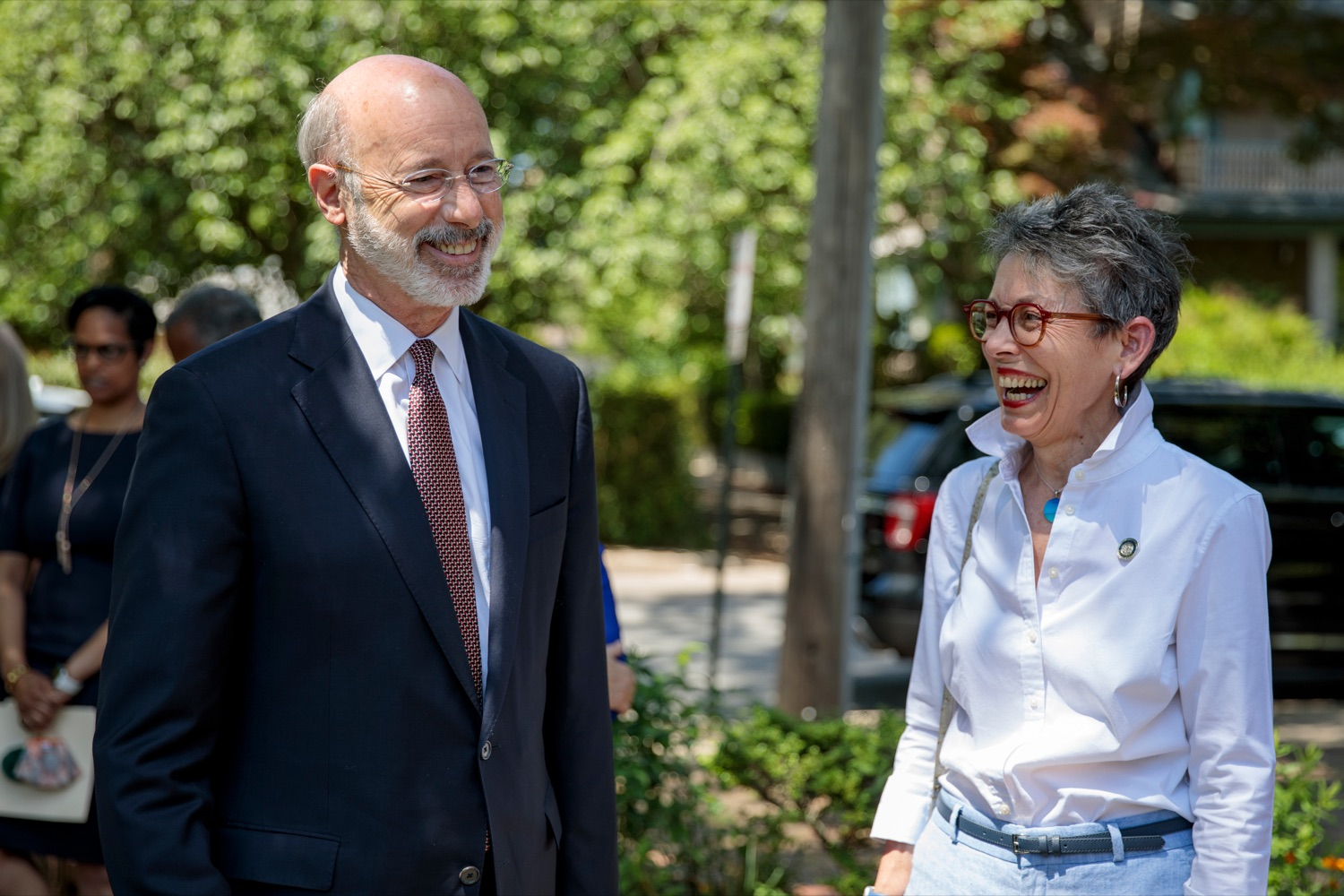 """<a href=""""https://filesource.wostreaming.net/commonwealthofpa/photo/18781_GOV_Choice_NK_017.jpg"""" target=""""_blank"""">⇣Download Photo<br></a>Gov. Tom Wolf talks with Rep. Mary Jo Daley during a press conference, which discussed the damaging effects of the general assemblys proposed anti-abortion legislation and reaffirm a commitment to protecting reproductive rights, at Narberth Park on Thursday, May 27, 2021."""