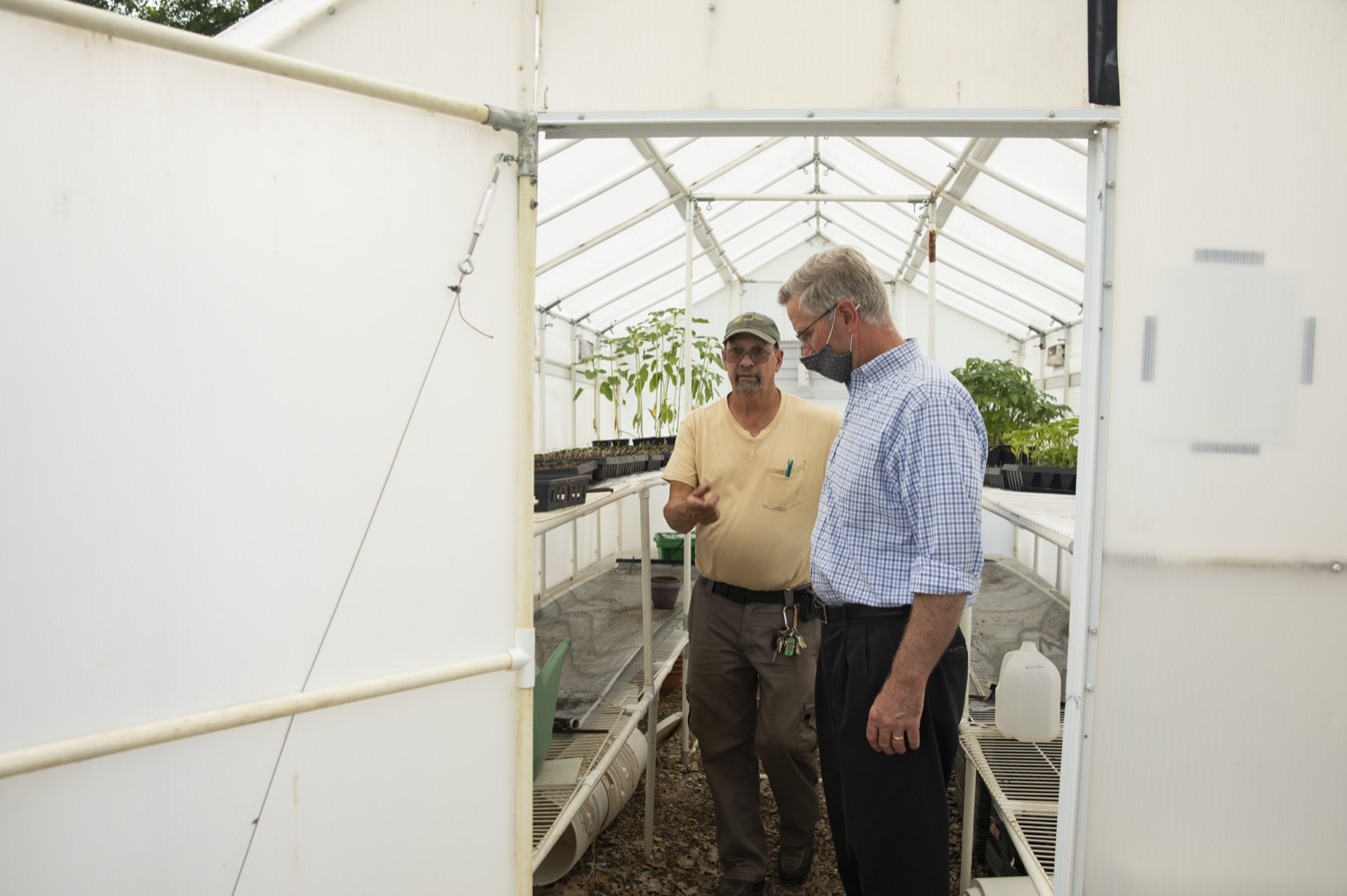 """<a href=""""https://filesource.wostreaming.net/commonwealthofpa/photo/18787_agric_urbangardens_08.jpg"""" target=""""_blank"""">⇣Download Photo<br></a>Bruce Manns gives Secretary Russell Redding a tour of the many greenhouses and gardens at York Fresh Food Farms, in York, PA on July 3, 2021."""