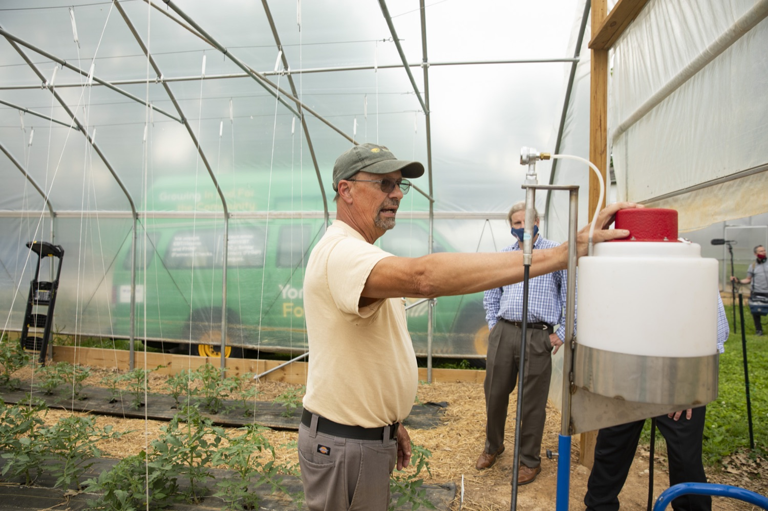"""<a href=""""https://filesource.wostreaming.net/commonwealthofpa/photo/18787_agric_urbangardens_10.jpg"""" target=""""_blank"""">⇣Download Photo<br></a>Bruce Manns, Farm Manager at York Fresh Food Farms, discusses his journey to creating an urban farm, in York, PA on July 3, 2021."""