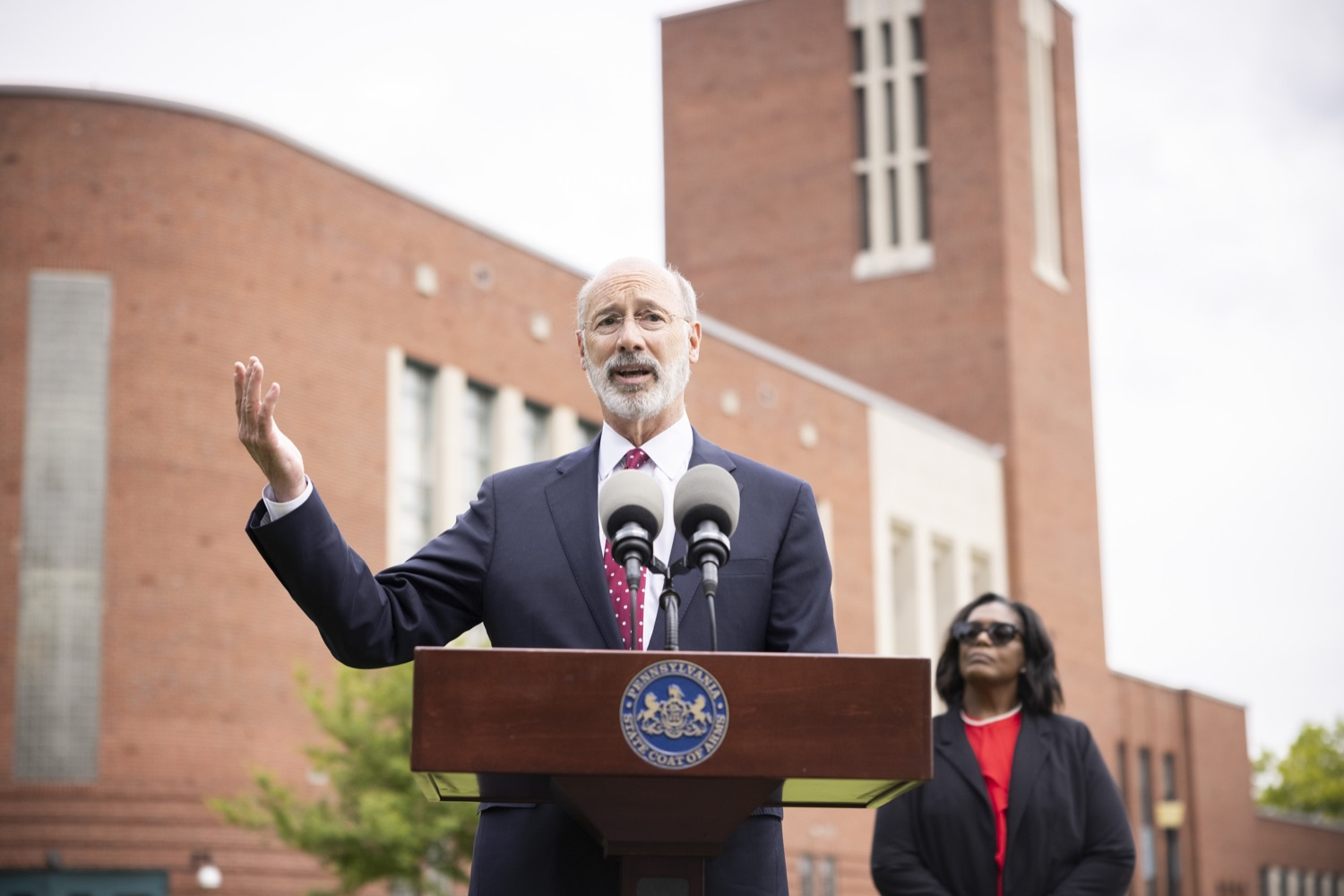 """<a href=""""https://filesource.wostreaming.net/commonwealthofpa/photo/18796_gov_charterSchool_dz_001.jpg"""" target=""""_blank"""">⇣Download Photo<br></a>Pennsylvania Governor Tom Wolf speaking with the press.  With overwhelming support among school districts for his charter school accountability plan, Governor Tom Wolf visited J.P. McCaskey High School in Lancaster today to discuss his bipartisan proposal that saves an estimated $395 million a year. Lancaster, PA  June 01, 2021"""