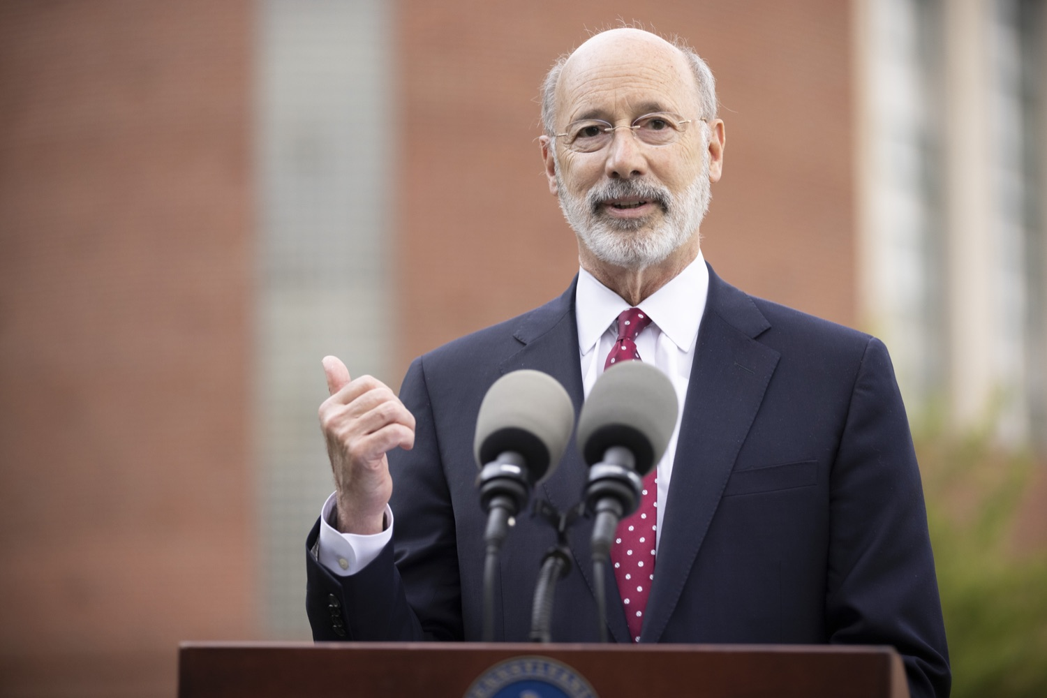 """<a href=""""https://filesource.wostreaming.net/commonwealthofpa/photo/18796_gov_charterSchool_dz_002.jpg"""" target=""""_blank"""">⇣Download Photo<br></a>Pennsylvania Governor Tom Wolf speaking with the press.  With overwhelming support among school districts for his charter school accountability plan, Governor Tom Wolf visited J.P. McCaskey High School in Lancaster today to discuss his bipartisan proposal that saves an estimated $395 million a year. Lancaster, PA  June 01, 2021"""