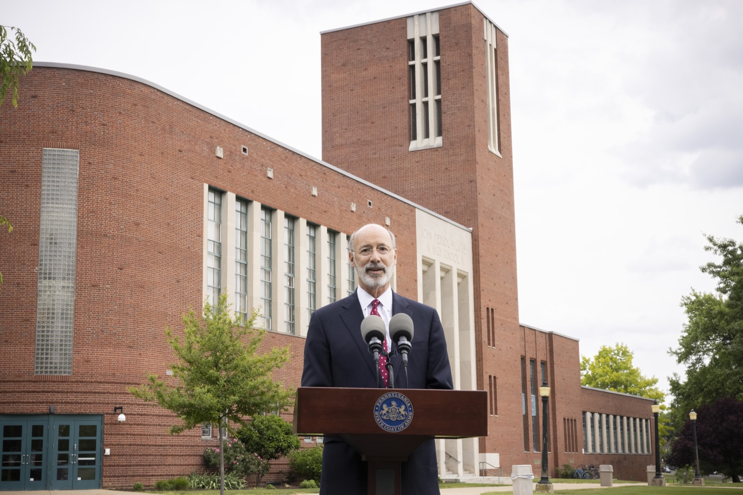 """<a href=""""https://filesource.wostreaming.net/commonwealthofpa/photo/18796_gov_charterSchool_dz_003.jpg"""" target=""""_blank"""">⇣Download Photo<br></a>Pennsylvania Governor Tom Wolf speaking with the press.  With overwhelming support among school districts for his charter school accountability plan, Governor Tom Wolf visited J.P. McCaskey High School in Lancaster today to discuss his bipartisan proposal that saves an estimated $395 million a year. Lancaster, PA  June 01, 2021"""