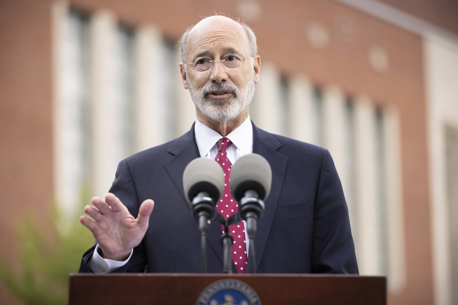 """<a href=""""https://filesource.wostreaming.net/commonwealthofpa/photo/18796_gov_charterSchool_dz_006.jpg"""" target=""""_blank"""">⇣Download Photo<br></a>Pennsylvania Governor Tom Wolf speaking with the press.  With overwhelming support among school districts for his charter school accountability plan, Governor Tom Wolf visited J.P. McCaskey High School in Lancaster today to discuss his bipartisan proposal that saves an estimated $395 million a year. Lancaster, PA  June 01, 2021"""