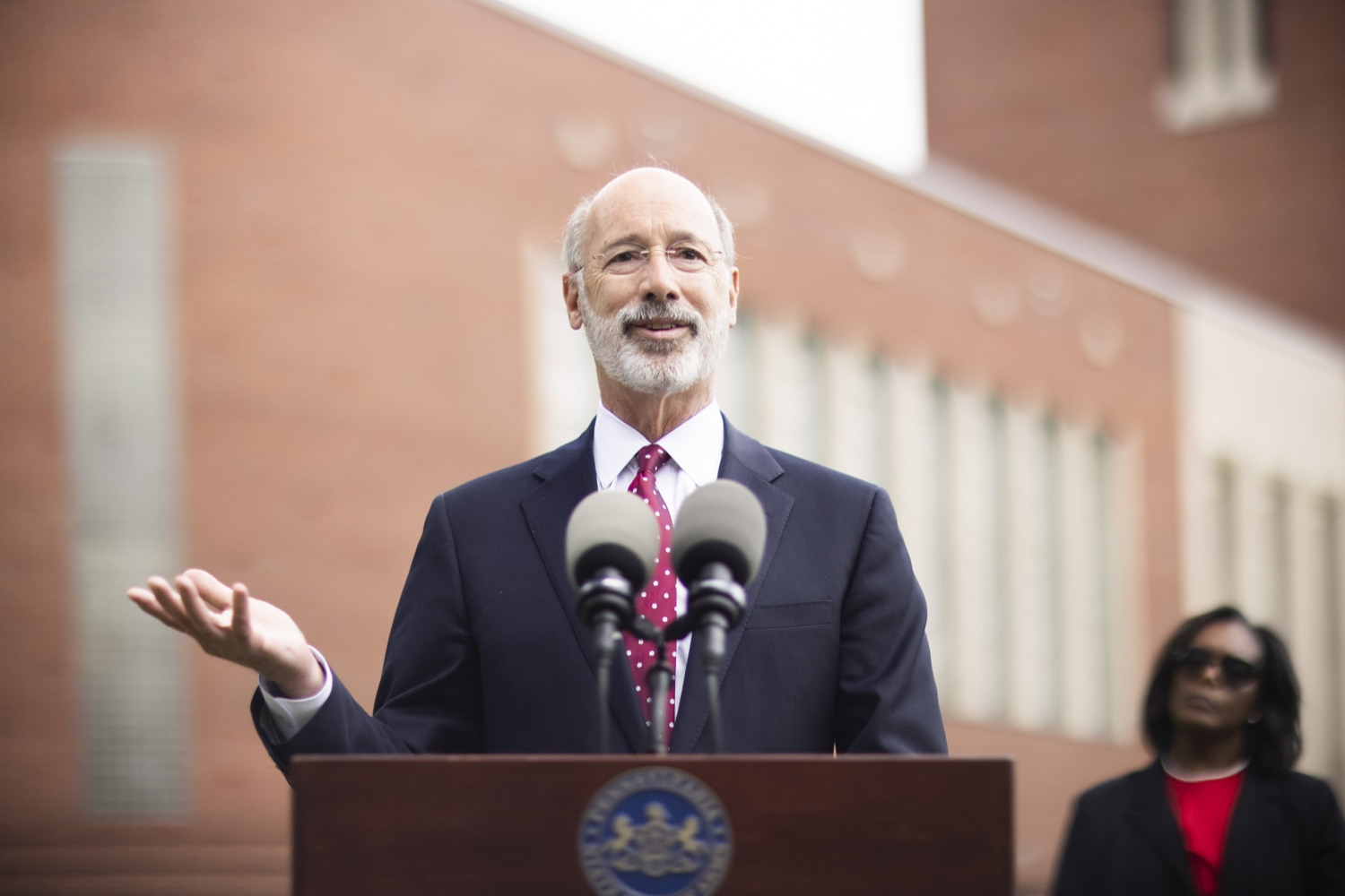 """<a href=""""https://filesource.wostreaming.net/commonwealthofpa/photo/18796_gov_charterSchool_dz_008.jpg"""" target=""""_blank"""">⇣Download Photo<br></a>Pennsylvania Governor Tom Wolf speaking with the press.  With overwhelming support among school districts for his charter school accountability plan, Governor Tom Wolf visited J.P. McCaskey High School in Lancaster today to discuss his bipartisan proposal that saves an estimated $395 million a year. Lancaster, PA  June 01, 2021"""