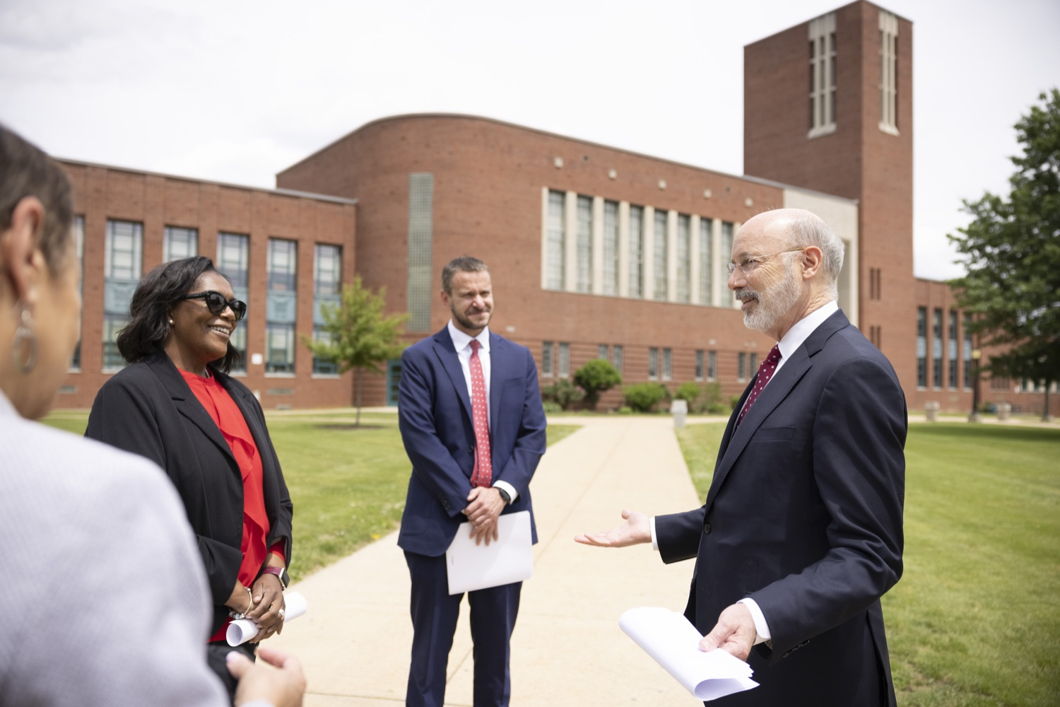 """<a href=""""https://filesource.wostreaming.net/commonwealthofpa/photo/18796_gov_charterSchool_dz_009.jpg"""" target=""""_blank"""">⇣Download Photo<br></a>Pennsylvania Governor Tom Wolf speaking with school administrators.  With overwhelming support among school districts for his charter school accountability plan, Governor Tom Wolf visited J.P. McCaskey High School in Lancaster today to discuss his bipartisan proposal that saves an estimated $395 million a year. Lancaster, PA  June 01, 2021"""
