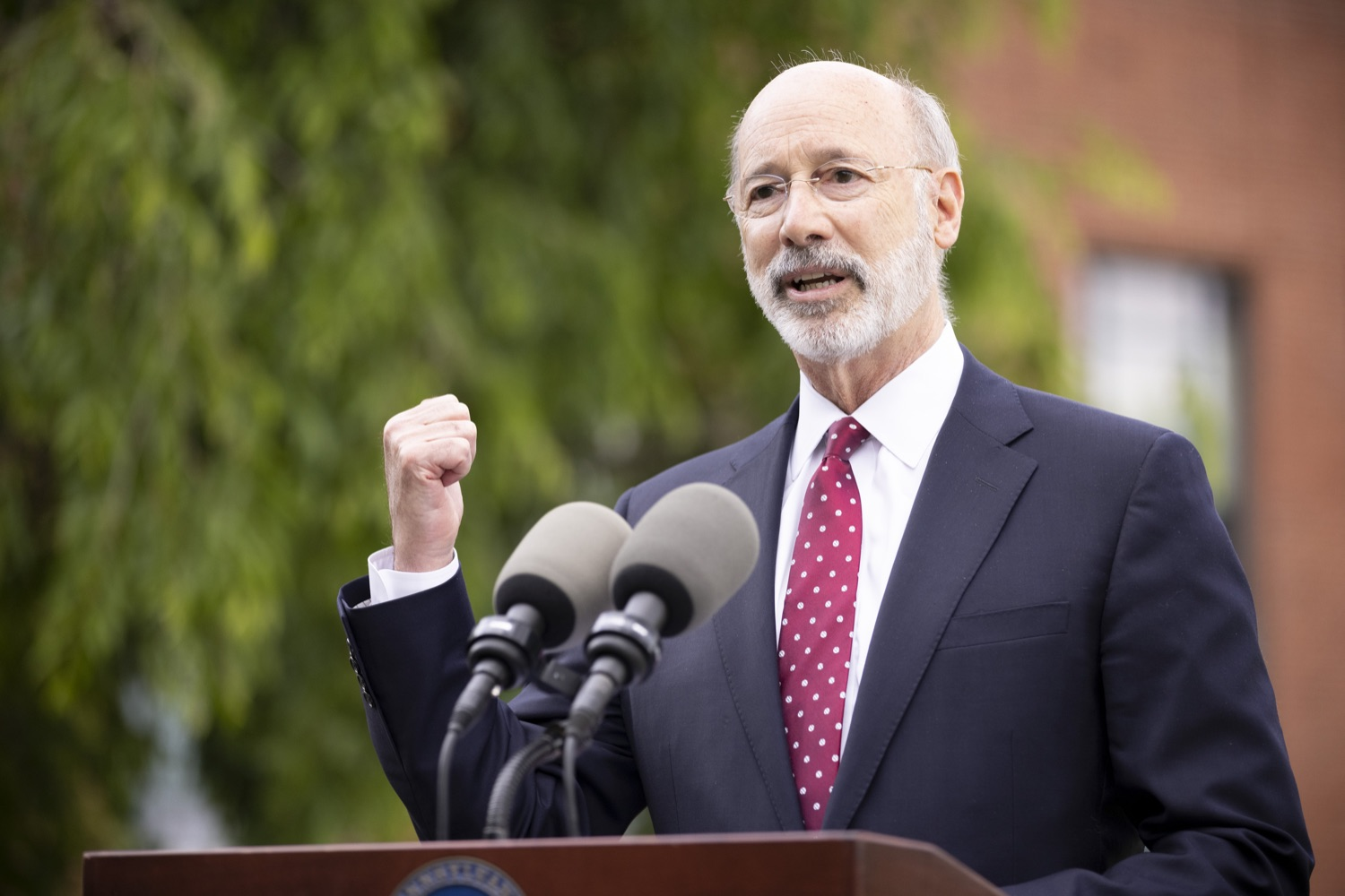 """<a href=""""https://filesource.wostreaming.net/commonwealthofpa/photo/18796_gov_charterSchool_dz_010.jpg"""" target=""""_blank"""">⇣Download Photo<br></a>Pennsylvania Governor Tom Wolf speaking with the press.  With overwhelming support among school districts for his charter school accountability plan, Governor Tom Wolf visited J.P. McCaskey High School in Lancaster today to discuss his bipartisan proposal that saves an estimated $395 million a year. Lancaster, PA  June 01, 2021"""