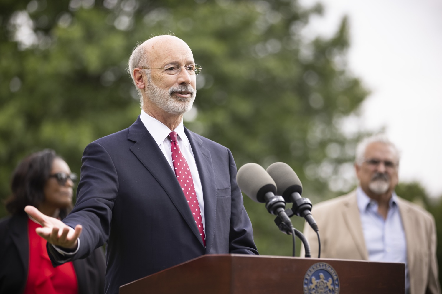 """<a href=""""https://filesource.wostreaming.net/commonwealthofpa/photo/18796_gov_charterSchool_dz_012.jpg"""" target=""""_blank"""">⇣Download Photo<br></a>Pennsylvania Governor Tom Wolf speaking with the press.  With overwhelming support among school districts for his charter school accountability plan, Governor Tom Wolf visited J.P. McCaskey High School in Lancaster today to discuss his bipartisan proposal that saves an estimated $395 million a year. Lancaster, PA  June 01, 2021"""