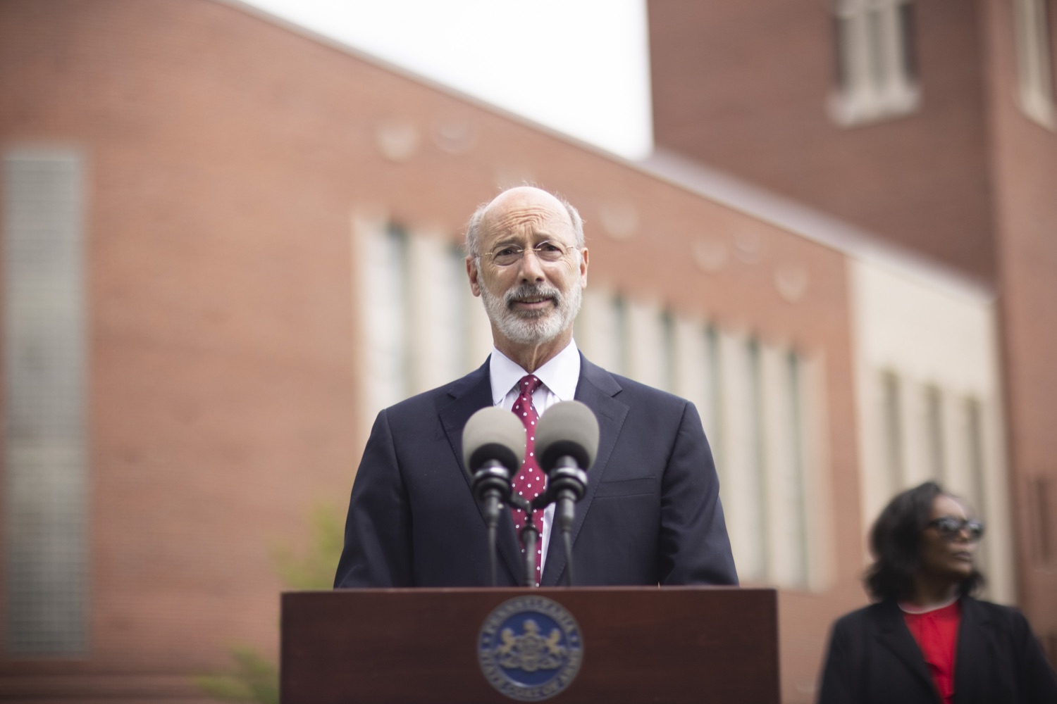 """<a href=""""https://filesource.wostreaming.net/commonwealthofpa/photo/18796_gov_charterSchool_dz_016.jpg"""" target=""""_blank"""">⇣Download Photo<br></a>Pennsylvania Governor Tom Wolf speaking with the press.  With overwhelming support among school districts for his charter school accountability plan, Governor Tom Wolf visited J.P. McCaskey High School in Lancaster today to discuss his bipartisan proposal that saves an estimated $395 million a year. Lancaster, PA  June 01, 2021"""