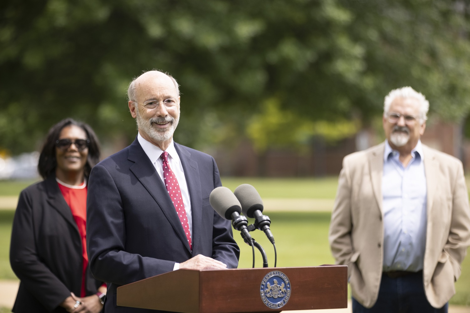"""<a href=""""https://filesource.wostreaming.net/commonwealthofpa/photo/18796_gov_charterSchool_dz_018.jpg"""" target=""""_blank"""">⇣Download Photo<br></a>Pennsylvania Governor Tom Wolf speaking with the press.  With overwhelming support among school districts for his charter school accountability plan, Governor Tom Wolf visited J.P. McCaskey High School in Lancaster today to discuss his bipartisan proposal that saves an estimated $395 million a year. Lancaster, PA  June 01, 2021"""