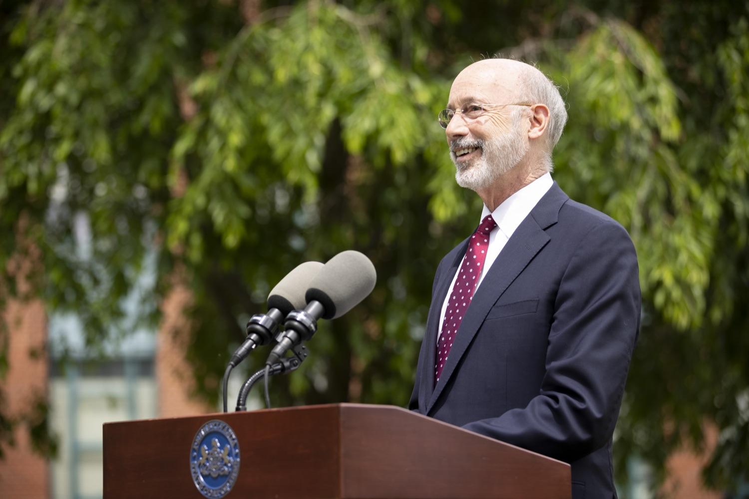 """<a href=""""https://filesource.wostreaming.net/commonwealthofpa/photo/18796_gov_charterSchool_dz_019.jpg"""" target=""""_blank"""">⇣Download Photo<br></a>Pennsylvania Governor Tom Wolf speaking with the press.  With overwhelming support among school districts for his charter school accountability plan, Governor Tom Wolf visited J.P. McCaskey High School in Lancaster today to discuss his bipartisan proposal that saves an estimated $395 million a year. Lancaster, PA  June 01, 2021"""