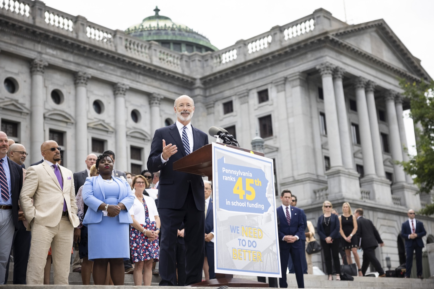 """<a href=""""https://filesource.wostreaming.net/commonwealthofpa/photo/18810_gov_fairFunding_dz_002.jpg"""" target=""""_blank"""">⇣Download Photo<br></a>Pennsylvania Governor Tom Wolf speaking with the press.  Continuing their commitment to students and working families, Governor Tom Wolf and House and Senate Democratic Leaders held a Capitol press conference today to highlight the injustice in the states school funding system and call for fair funding of every district.  Harrisburg, PA   June 8, 2021"""
