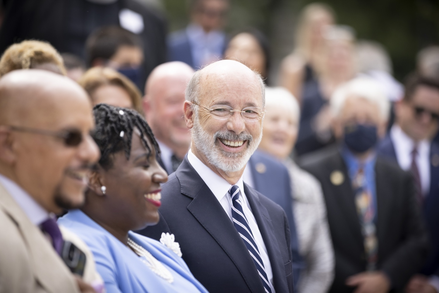 """<a href=""""https://filesource.wostreaming.net/commonwealthofpa/photo/18810_gov_fairFunding_dz_007.jpg"""" target=""""_blank"""">⇣Download Photo<br></a>Pennsylvania Governor Tom Wolf laughing with supporters of the legislation.  Continuing their commitment to students and working families, Governor Tom Wolf and House and Senate Democratic Leaders held a Capitol press conference today to highlight the injustice in the states school funding system and call for fair funding of every district.  Harrisburg, PA   June 8, 2021"""