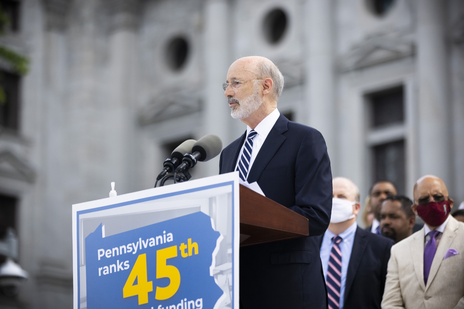 """<a href=""""https://filesource.wostreaming.net/commonwealthofpa/photo/18810_gov_fairFunding_dz_012.jpg"""" target=""""_blank"""">⇣Download Photo<br></a>Pennsylvania Governor Tom Wolf speaking with the press.  Continuing their commitment to students and working families, Governor Tom Wolf and House and Senate Democratic Leaders held a Capitol press conference today to highlight the injustice in the states school funding system and call for fair funding of every district.  Harrisburg, PA   June 8, 2021"""
