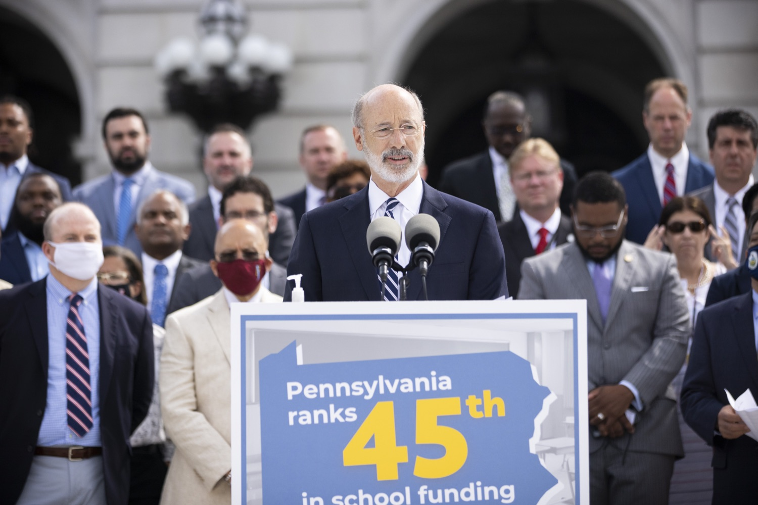 """<a href=""""https://filesource.wostreaming.net/commonwealthofpa/photo/18810_gov_fairFunding_dz_016.jpg"""" target=""""_blank"""">⇣Download Photo<br></a>Pennsylvania Governor Tom Wolf speaking with the press.  Continuing their commitment to students and working families, Governor Tom Wolf and House and Senate Democratic Leaders held a Capitol press conference today to highlight the injustice in the states school funding system and call for fair funding of every district.  Harrisburg, PA   June 8, 2021"""