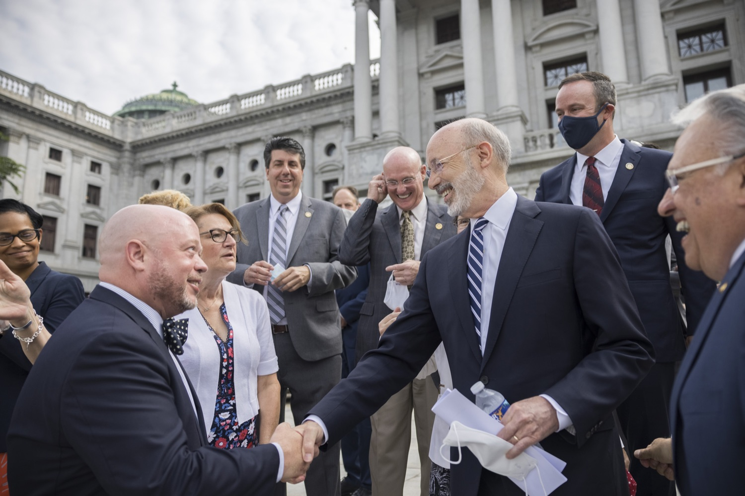 """<a href=""""https://filesource.wostreaming.net/commonwealthofpa/photo/18810_gov_fairFunding_dz_020.jpg"""" target=""""_blank"""">⇣Download Photo<br></a>Pennsylvania Governor Tom Wolf greeting supporters of the legislation.  Continuing their commitment to students and working families, Governor Tom Wolf and House and Senate Democratic Leaders held a Capitol press conference today to highlight the injustice in the states school funding system and call for fair funding of every district.  Harrisburg, PA   June 8, 2021"""