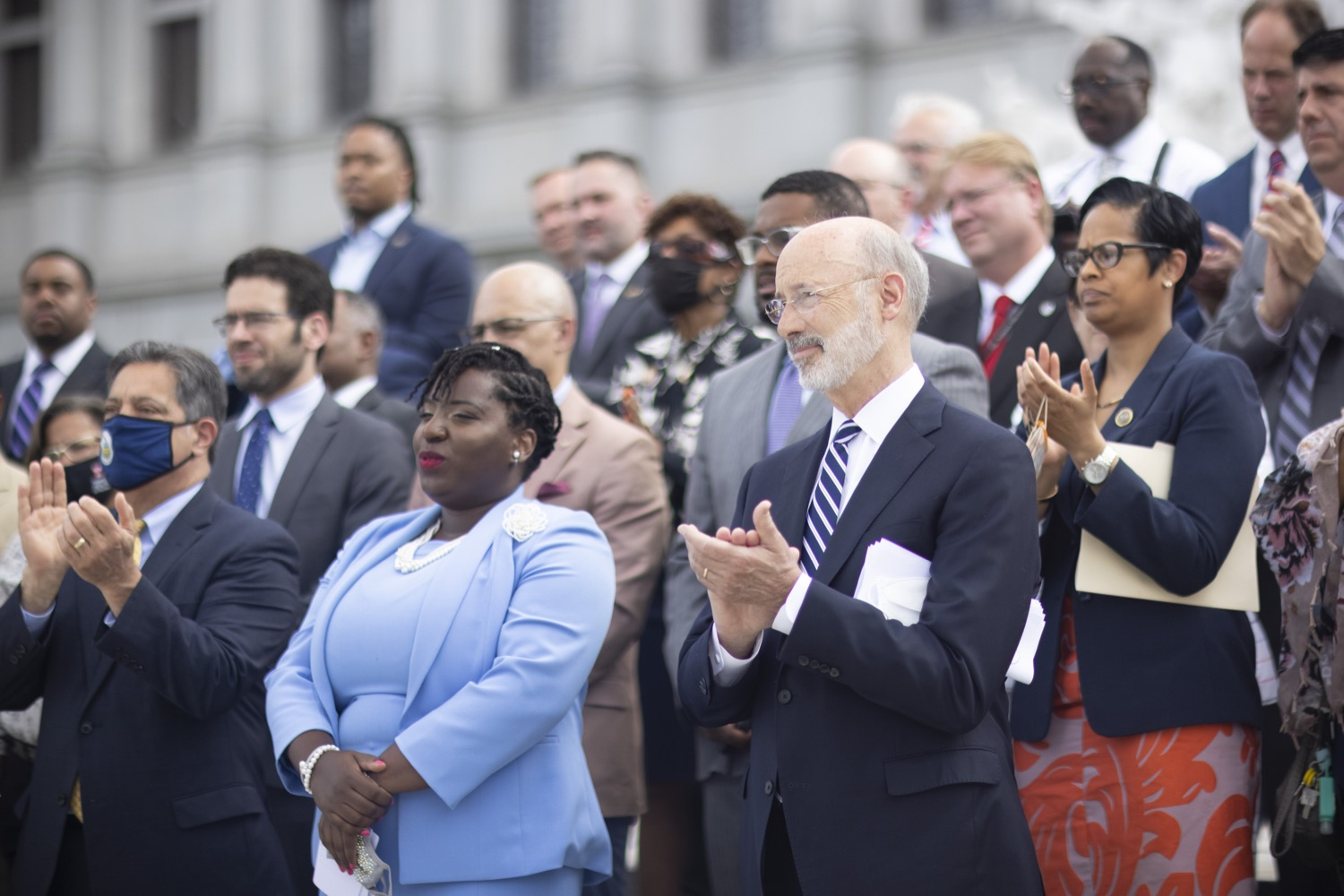 """<a href=""""https://filesource.wostreaming.net/commonwealthofpa/photo/18810_gov_fairFunding_dz_021.jpg"""" target=""""_blank"""">⇣Download Photo<br></a>Pennsylvania Governor Tom Wolf listening to speakers.  Continuing their commitment to students and working families, Governor Tom Wolf and House and Senate Democratic Leaders held a Capitol press conference today to highlight the injustice in the states school funding system and call for fair funding of every district.  Harrisburg, PA   June 8, 2021"""