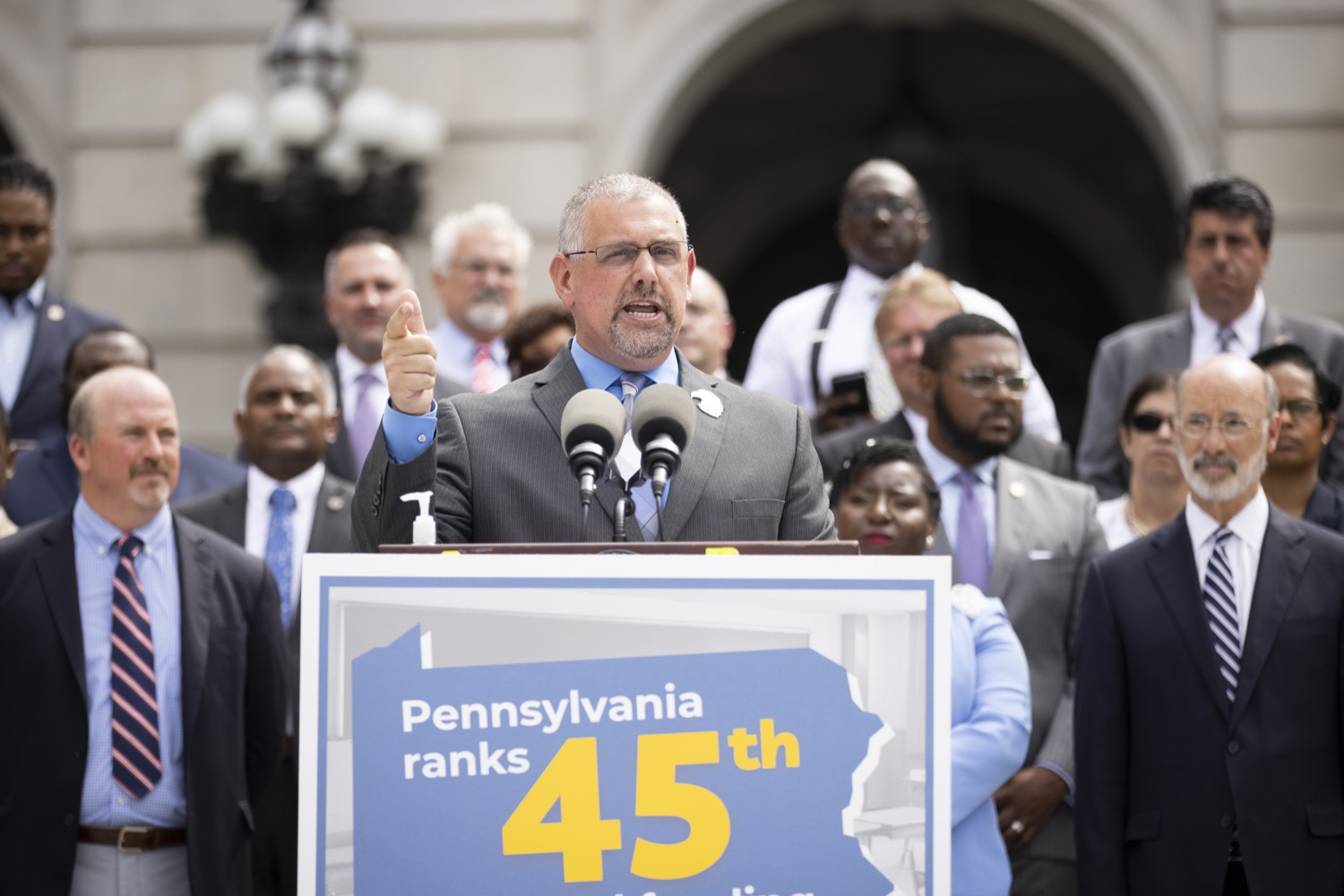 """<a href=""""https://filesource.wostreaming.net/commonwealthofpa/photo/18810_gov_fairFunding_dz_022.jpg"""" target=""""_blank"""">⇣Download Photo<br></a>Norristown Area School District Superintendent Christopher Dormer speaking with the press.  Continuing their commitment to students and working families, Governor Tom Wolf and House and Senate Democratic Leaders held a Capitol press conference today to highlight the injustice in the states school funding system and call for fair funding of every district.  Harrisburg, PA   June 8, 2021"""