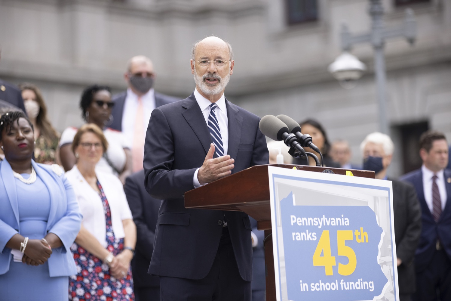 """<a href=""""https://filesource.wostreaming.net/commonwealthofpa/photo/18810_gov_fairFunding_dz_023.jpg"""" target=""""_blank"""">⇣Download Photo<br></a>Pennsylvania Governor Tom Wolf speaking at the event. Continuing their commitment to students and working families, Governor Tom Wolf and House and Senate Democratic Leaders held a Capitol press conference today to highlight the injustice in the states school funding system and call for fair funding of every district.  Harrisburg, PA   June 8, 2021"""