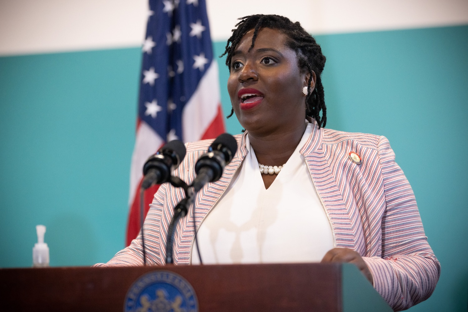 """<a href=""""https://filesource.wostreaming.net/commonwealthofpa/photo/18815_gov_voterRights_dz_002.jpg"""" target=""""_blank"""">⇣Download Photo<br></a>House Democratic Caucus Leader Joanna McClinton, Representative from Delaware and Philadelphia Counties speaking with the press.With some politicians spreading lies about our elections to divide us, Governor Tom Wolf today vowed to protect the freedom to vote and oppose legislation that would create barriers to voting and silence the voices of some Pennsylvanians. These are the same lies that led directly to the appalling assault on our U.S. Capitol and our democracy on January 6, and now, just a few short months later, the same people who fomented, encouraged, and joined that mob are again emerging to undermine the fabric of our nation.   Harrisburg, PA  June 9, 2021"""