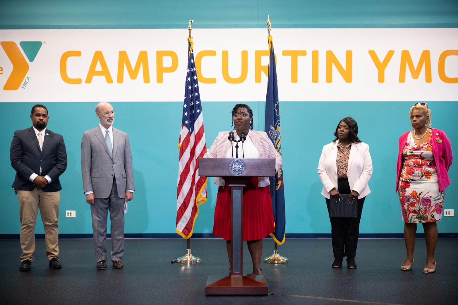 """<a href=""""https://filesource.wostreaming.net/commonwealthofpa/photo/18815_gov_voterRights_dz_009.jpg"""" target=""""_blank"""">⇣Download Photo<br></a>House Democratic Caucus Leader Joanna McClinton, Representative from Delaware and Philadelphia Counties speaking with the press.With some politicians spreading lies about our elections to divide us, Governor Tom Wolf today vowed to protect the freedom to vote and oppose legislation that would create barriers to voting and silence the voices of some Pennsylvanians. These are the same lies that led directly to the appalling assault on our U.S. Capitol and our democracy on January 6, and now, just a few short months later, the same people who fomented, encouraged, and joined that mob are again emerging to undermine the fabric of our nation.   Harrisburg, PA  June 9, 2021"""