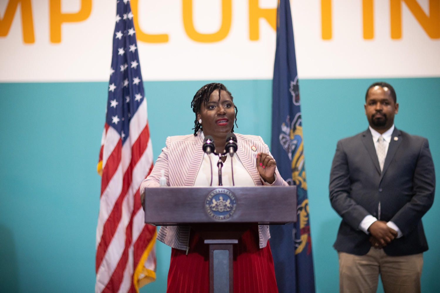 """<a href=""""https://filesource.wostreaming.net/commonwealthofpa/photo/18815_gov_voterRights_dz_011.jpg"""" target=""""_blank"""">⇣Download Photo<br></a>House Democratic Caucus Leader Joanna McClinton, Representative from Delaware and Philadelphia Counties speaking with the press.With some politicians spreading lies about our elections to divide us, Governor Tom Wolf today vowed to protect the freedom to vote and oppose legislation that would create barriers to voting and silence the voices of some Pennsylvanians. These are the same lies that led directly to the appalling assault on our U.S. Capitol and our democracy on January 6, and now, just a few short months later, the same people who fomented, encouraged, and joined that mob are again emerging to undermine the fabric of our nation.   Harrisburg, PA  June 9, 2021"""