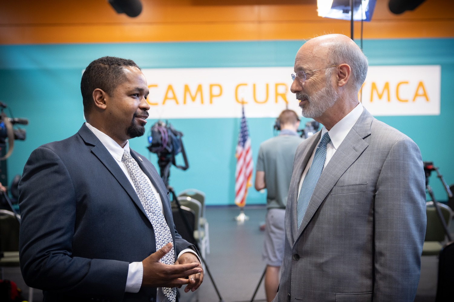 """<a href=""""https://filesource.wostreaming.net/commonwealthofpa/photo/18815_gov_voterRights_dz_012.jpg"""" target=""""_blank"""">⇣Download Photo<br></a>Senate State Government Committee Democratic Chairman Senator Sharif Street speaking with Pennsylvania Governor Tom Wolf.With some politicians spreading lies about our elections to divide us, Governor Tom Wolf today vowed to protect the freedom to vote and oppose legislation that would create barriers to voting and silence the voices of some Pennsylvanians. These are the same lies that led directly to the appalling assault on our U.S. Capitol and our democracy on January 6, and now, just a few short months later, the same people who fomented, encouraged, and joined that mob are again emerging to undermine the fabric of our nation.   Harrisburg, PA  June 9, 2021"""
