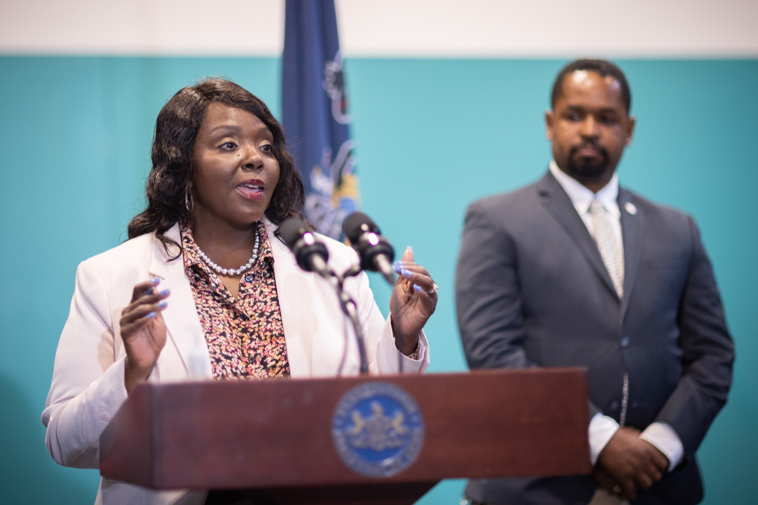 """<a href=""""https://filesource.wostreaming.net/commonwealthofpa/photo/18815_gov_voterRights_dz_018.jpg"""" target=""""_blank"""">⇣Download Photo<br></a>Acting Secretary of the Commonwealth Veronica Degraffenreid, speaking with the press.  With some politicians spreading lies about our elections to divide us, Governor Tom Wolf today vowed to protect the freedom to vote and oppose legislation that would create barriers to voting and silence the voices of some Pennsylvanians. These are the same lies that led directly to the appalling assault on our U.S. Capitol and our democracy on January 6, and now, just a few short months later, the same people who fomented, encouraged, and joined that mob are again emerging to undermine the fabric of our nation.   Harrisburg, PA  June 9, 2021"""