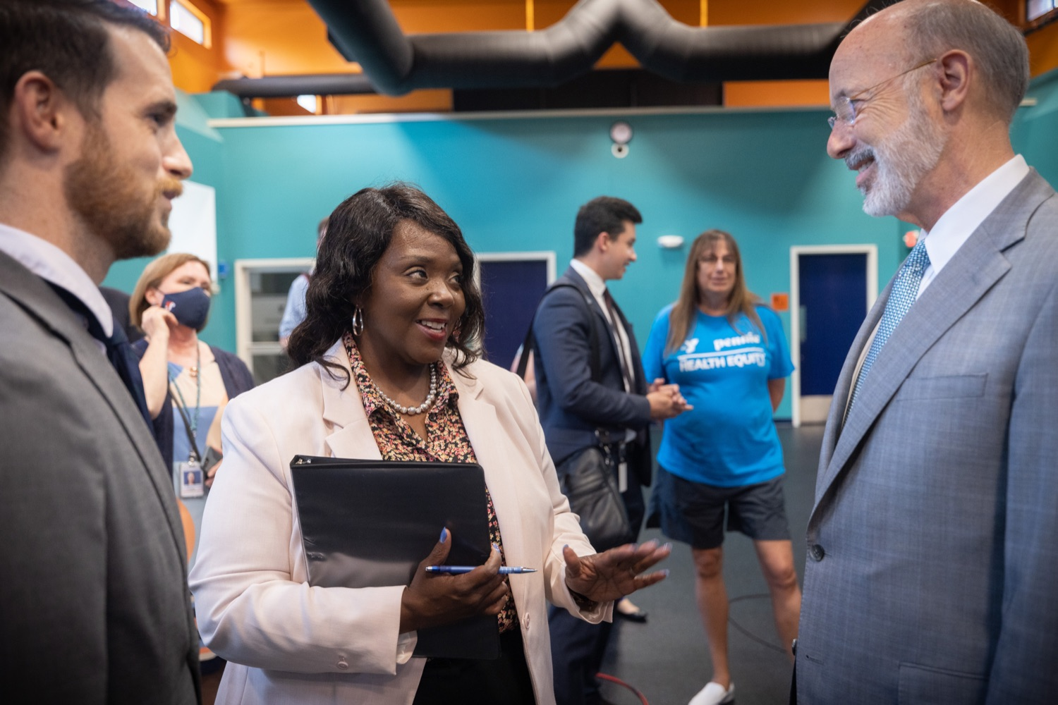 """<a href=""""https://filesource.wostreaming.net/commonwealthofpa/photo/18815_gov_voterRights_dz_020.jpg"""" target=""""_blank"""">⇣Download Photo<br></a>Acting Secretary of the Commonwealth Veronica Degraffenreid greeting Pennsylvania Governor Tom Wolf.With some politicians spreading lies about our elections to divide us, Governor Tom Wolf today vowed to protect the freedom to vote and oppose legislation that would create barriers to voting and silence the voices of some Pennsylvanians. These are the same lies that led directly to the appalling assault on our U.S. Capitol and our democracy on January 6, and now, just a few short months later, the same people who fomented, encouraged, and joined that mob are again emerging to undermine the fabric of our nation.   Harrisburg, PA  June 9, 2021"""