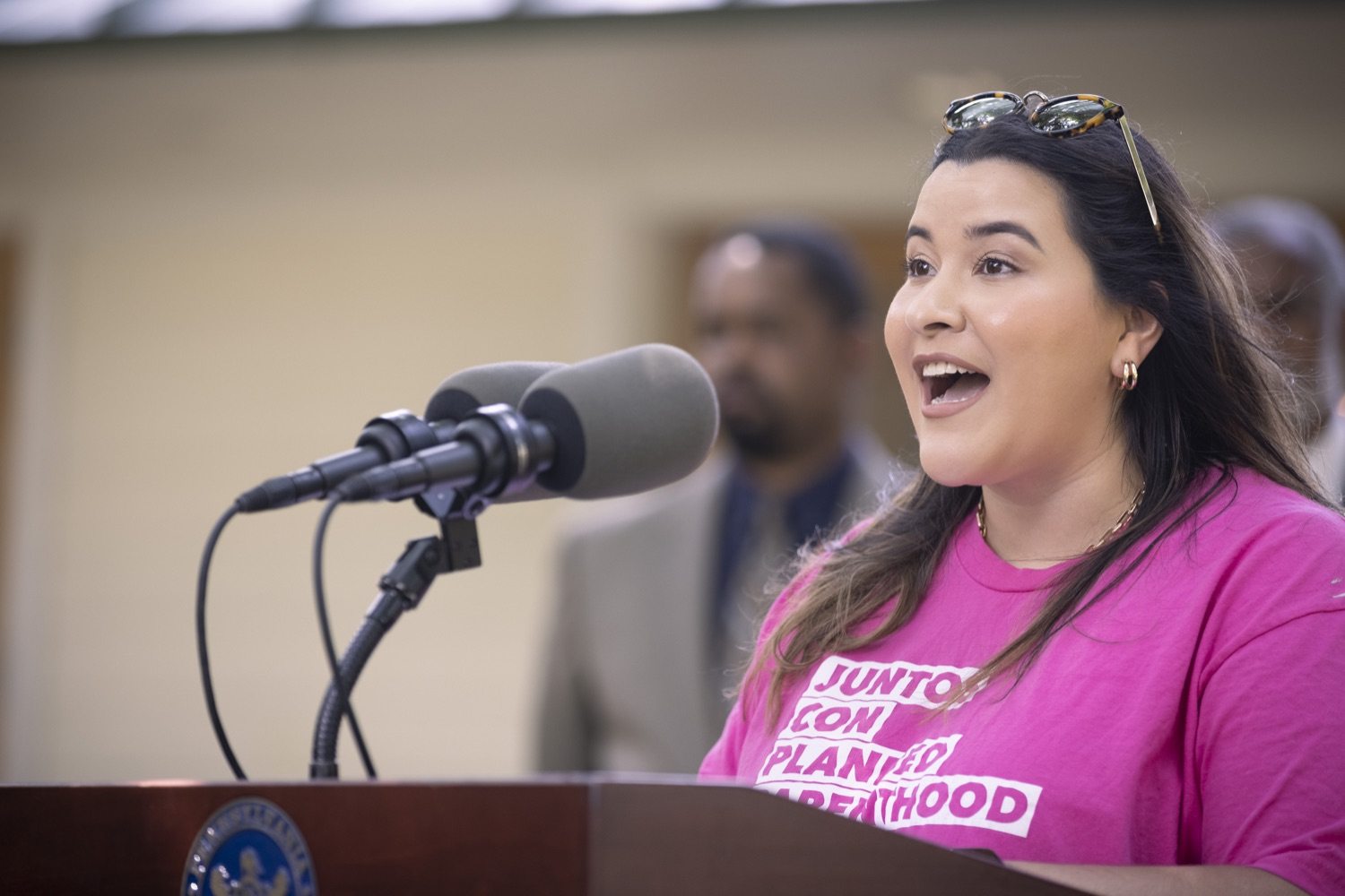 """<a href=""""https://filesource.wostreaming.net/commonwealthofpa/photo/18819_gov_reprodRights_dz_002.jpg"""" target=""""_blank"""">⇣Download Photo<br></a>Signe Espinoza, Interim Executive Director, Planned Parenthood Association of PA speaking with the press.  Governor Wolf will discuss proposed anti-choice legislation that is moving through the House of Representatives and reaffirm that he will veto this damaging legislation.  JUNE 10, 2021 - PHILADELPHIA, PA"""