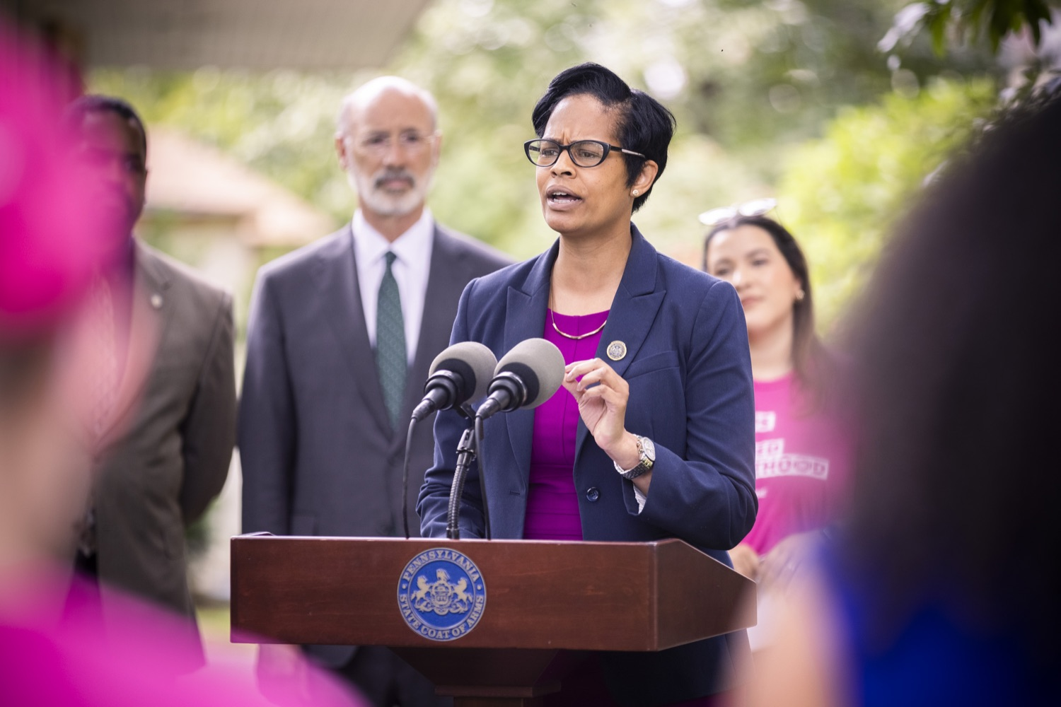 """<a href=""""https://filesource.wostreaming.net/commonwealthofpa/photo/18819_gov_reprodRights_dz_003.jpg"""" target=""""_blank"""">⇣Download Photo<br></a>Pennsylvania State Representative Morgan Cephas speaking with the press.  Governor Wolf will discuss proposed anti-choice legislation that is moving through the House of Representatives and reaffirm that he will veto this damaging legislation.  JUNE 10, 2021 - PHILADELPHIA, PA"""