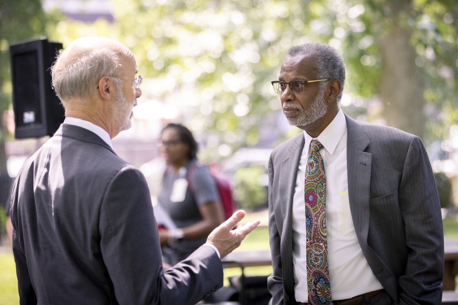 """<a href=""""https://filesource.wostreaming.net/commonwealthofpa/photo/18819_gov_reprodRights_dz_020.jpg"""" target=""""_blank"""">⇣Download Photo<br></a>Pennsylvania Governor Tom Wolf speaking with Pennsylvania State Senator Art Haywood.  Governor Wolf will discuss proposed anti-choice legislation that is moving through the House of Representatives and reaffirm that he will veto this damaging legislation.  JUNE 10, 2021 - PHILADELPHIA, PA"""