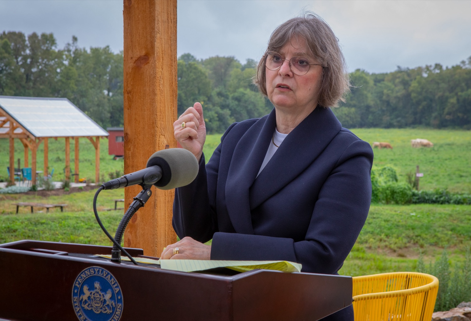 """<a href=""""https://filesource.wostreaming.net/commonwealthofpa/photo/18869_20063_DCED_CulinaryTrails_AG_04.jpg"""" target=""""_blank"""">⇣Download Photo<br></a>First Lady Frances Wolf speaks at Wednesday's event.  The First Lady and Department of Community and Economic Development (DCED) Deputy Secretary for Marketing, Tourism & Film Carrie Fischer Lepore celebrated Pennsylvanias rich food history and heritage with the launch of four new culinary trails: Picked: An Apple Trail; Baked: A Bread Trail; Chopped: A Charcuterie Trail; and Pickled: A Fermented Trail.  Mechanicsburg, PA - September 22, 2021"""