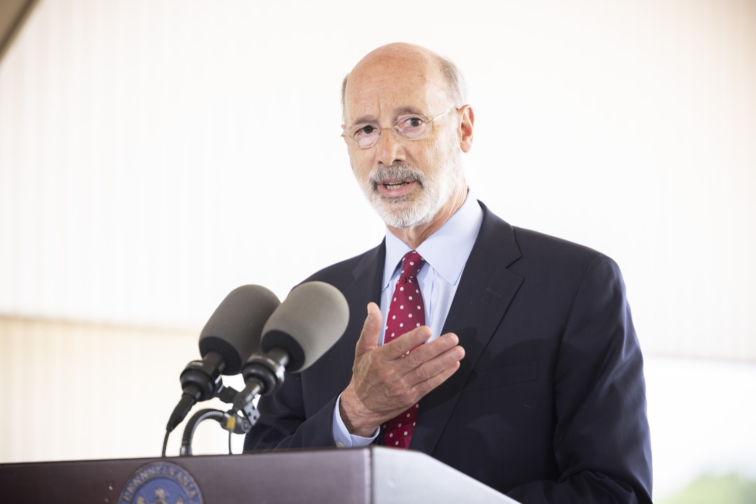 """<a href=""""https://filesource.wostreaming.net/commonwealthofpa/photo/18932_gov_chirp_dz_003.jpg"""" target=""""_blank"""">⇣Download Photo<br></a>Pennsylvania Governor Tom Wolf speaking with the press.  Governor Tom Wolf today joined the Pennsylvania Department of Community and Economic Development, Bucks County Commissioners, Bristol Borough Mayor Joseph Saxton, local lawmakers, Bucks County Economic Development Corporation, Visit Bucks County, the Bucks County Redevelopment Authority, and the owners of Itri Wood Fired to highlight the $7 million in grant funding provided to Bucks County restaurants through the COVID-19 Hospitality Industry Recovery Program(CHIRP).  JULY 16, 2021 - BRISTOL, PA"""