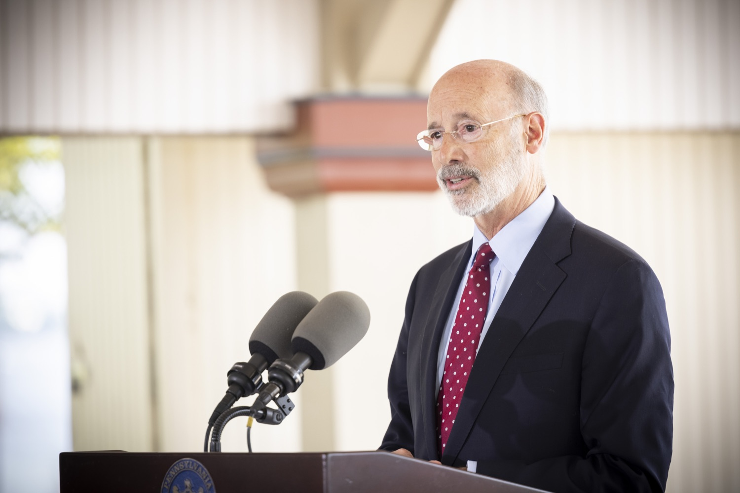 """<a href=""""https://filesource.wostreaming.net/commonwealthofpa/photo/18932_gov_chirp_dz_007.jpg"""" target=""""_blank"""">⇣Download Photo<br></a>Pennsylvania Governor Tom Wolf speaking with the press.  Governor Tom Wolf today joined the Pennsylvania Department of Community and Economic Development, Bucks County Commissioners, Bristol Borough Mayor Joseph Saxton, local lawmakers, Bucks County Economic Development Corporation, Visit Bucks County, the Bucks County Redevelopment Authority, and the owners of Itri Wood Fired to highlight the $7 million in grant funding provided to Bucks County restaurants through the COVID-19 Hospitality Industry Recovery Program(CHIRP).  JULY 16, 2021 - BRISTOL, PA"""