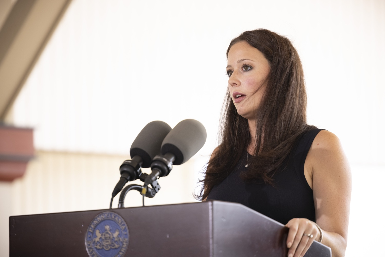 """<a href=""""https://filesource.wostreaming.net/commonwealthofpa/photo/18932_gov_chirp_dz_013.jpg"""" target=""""_blank"""">⇣Download Photo<br></a>Dana Pezza, Owner, Itri Wood Fired speaking with the press.  Governor Tom Wolf today joined the Pennsylvania Department of Community and Economic Development, Bucks County Commissioners, Bristol Borough Mayor Joseph Saxton, local lawmakers, Bucks County Economic Development Corporation, Visit Bucks County, the Bucks County Redevelopment Authority, and the owners of Itri Wood Fired to highlight the $7 million in grant funding provided to Bucks County restaurants through the COVID-19 Hospitality Industry Recovery Program(CHIRP).  JULY 16, 2021 - BRISTOL, PA"""