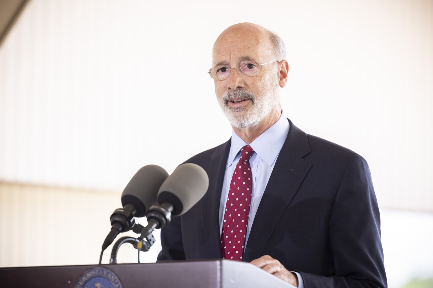 """<a href=""""https://filesource.wostreaming.net/commonwealthofpa/photo/18932_gov_chirp_dz_015.jpg"""" target=""""_blank"""">⇣Download Photo<br></a>Pennsylvania Governor Tom Wolf speaking with the press.  Governor Tom Wolf today joined the Pennsylvania Department of Community and Economic Development, Bucks County Commissioners, Bristol Borough Mayor Joseph Saxton, local lawmakers, Bucks County Economic Development Corporation, Visit Bucks County, the Bucks County Redevelopment Authority, and the owners of Itri Wood Fired to highlight the $7 million in grant funding provided to Bucks County restaurants through the COVID-19 Hospitality Industry Recovery Program(CHIRP).  JULY 16, 2021 - BRISTOL, PA"""