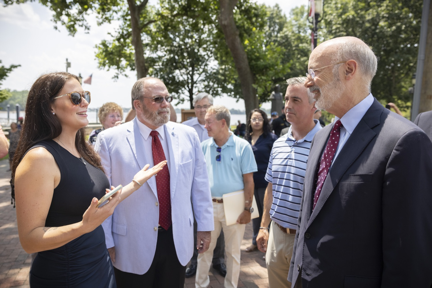 """<a href=""""https://filesource.wostreaming.net/commonwealthofpa/photo/18932_gov_chirp_dz_020.jpg"""" target=""""_blank"""">⇣Download Photo<br></a>Dana Pezza, Owner, Itri Wood Fired speaking with Pennsylvania Governor Tom Wolf.  Governor Tom Wolf today joined the Pennsylvania Department of Community and Economic Development, Bucks County Commissioners, Bristol Borough Mayor Joseph Saxton, local lawmakers, Bucks County Economic Development Corporation, Visit Bucks County, the Bucks County Redevelopment Authority, and the owners of Itri Wood Fired to highlight the $7 million in grant funding provided to Bucks County restaurants through the COVID-19 Hospitality Industry Recovery Program(CHIRP).  JULY 16, 2021 - BRISTOL, PA"""